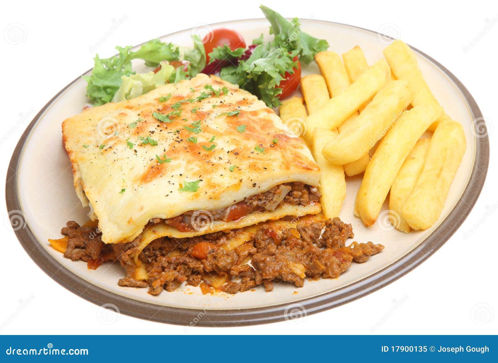 Lasagna And Chips Royalty Free Stock Photo - Image: 17900135