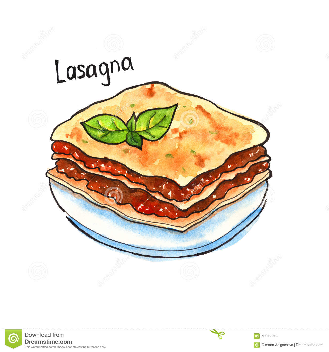 Lasagna italian cuisine isolated watercolor stock for Art de cuisine plates