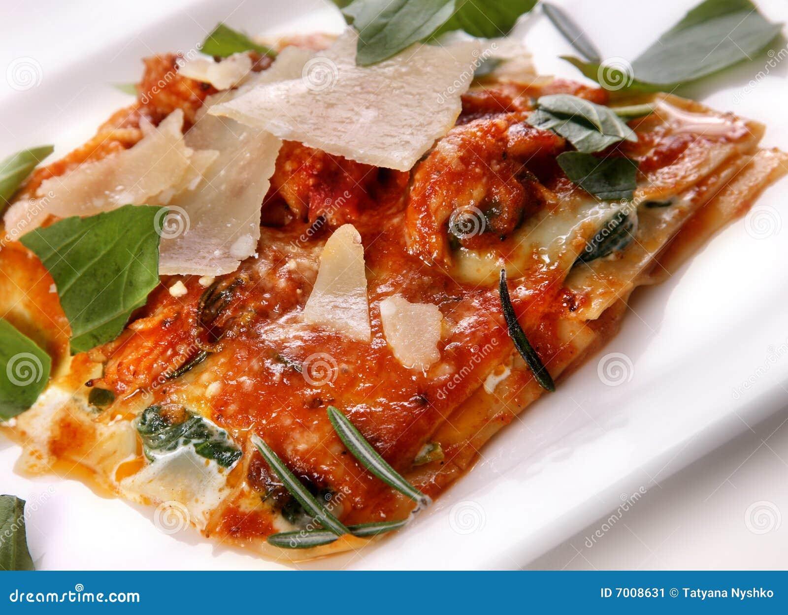 Lasagna italiano do alimento
