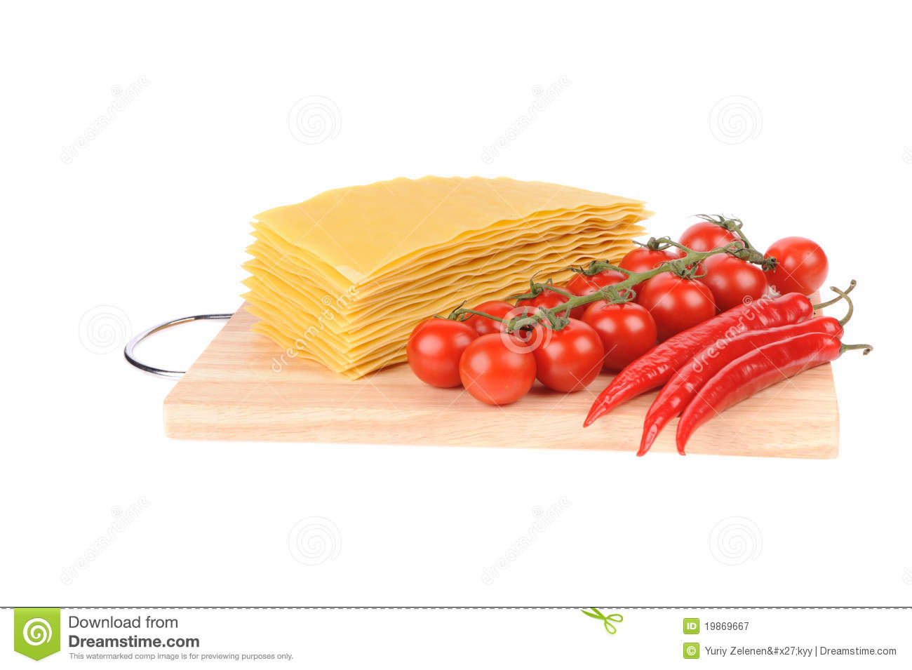 Lasagna pasta and tomato and red peppers on cutting board isolated on ...