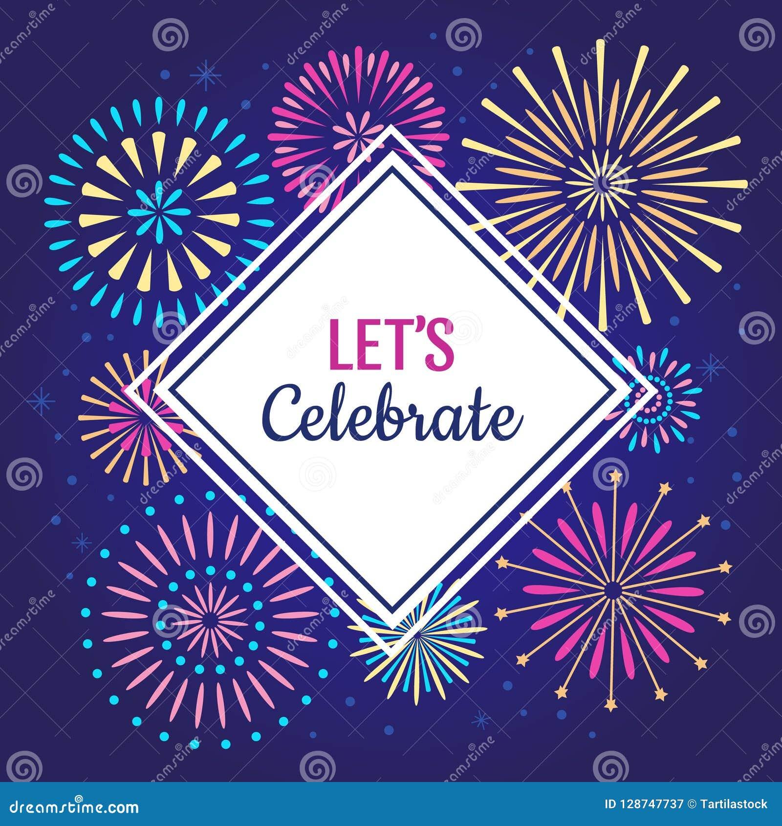 Lascia per celebrare il manifesto I fuochi d artificio della celebrazione di vacanza invernale, fuoco d artificio del partito di