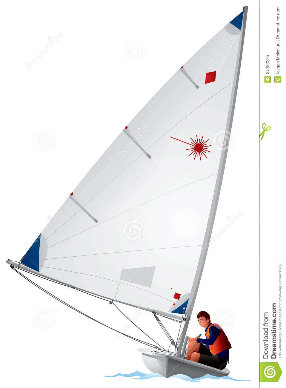 Laser Class sailboat vector illustration, sailing sport dinghy and ...