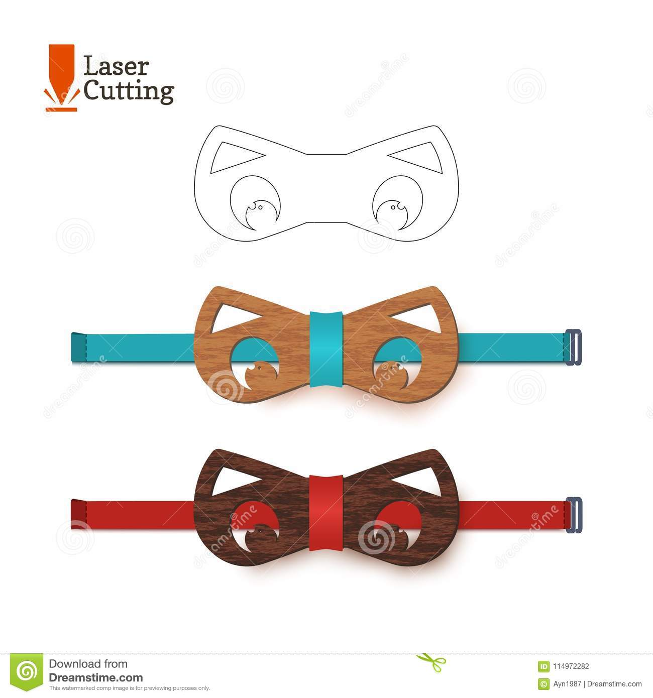 Laser Cut Bow-tie Template For DIY. Vector Silhouette With Cute Cat ...