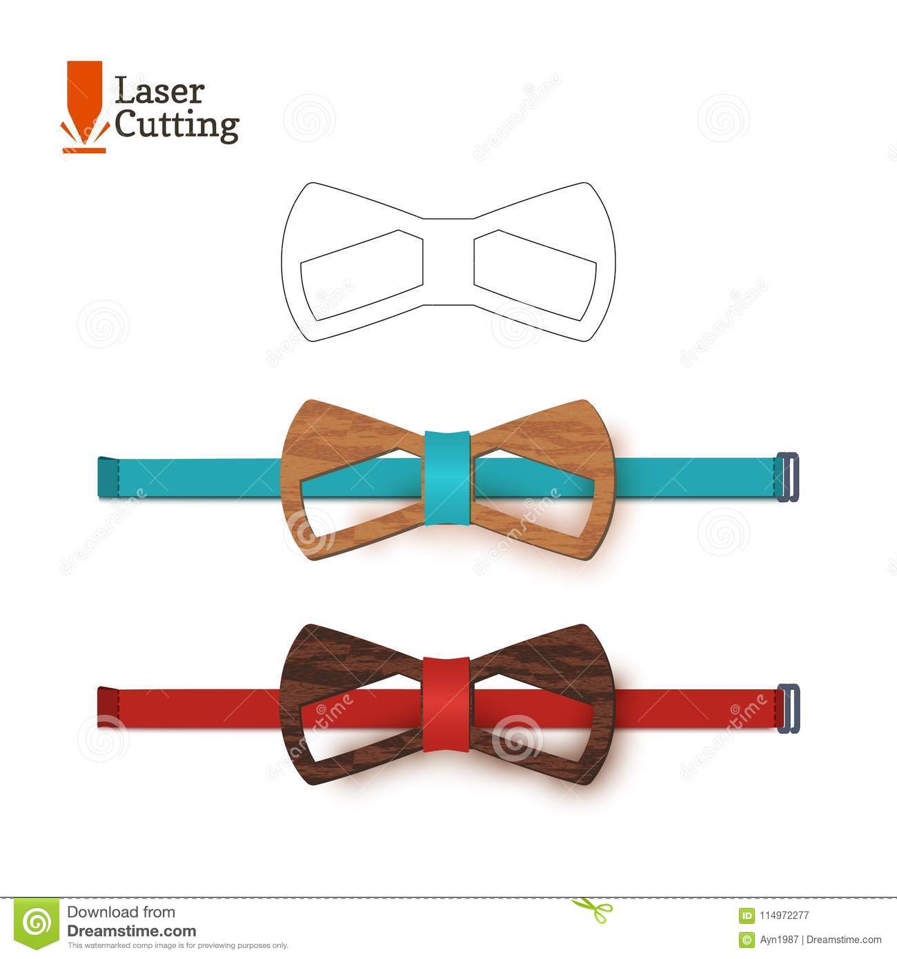 laser cut bow tie template for diy vector silhouette with cute cat