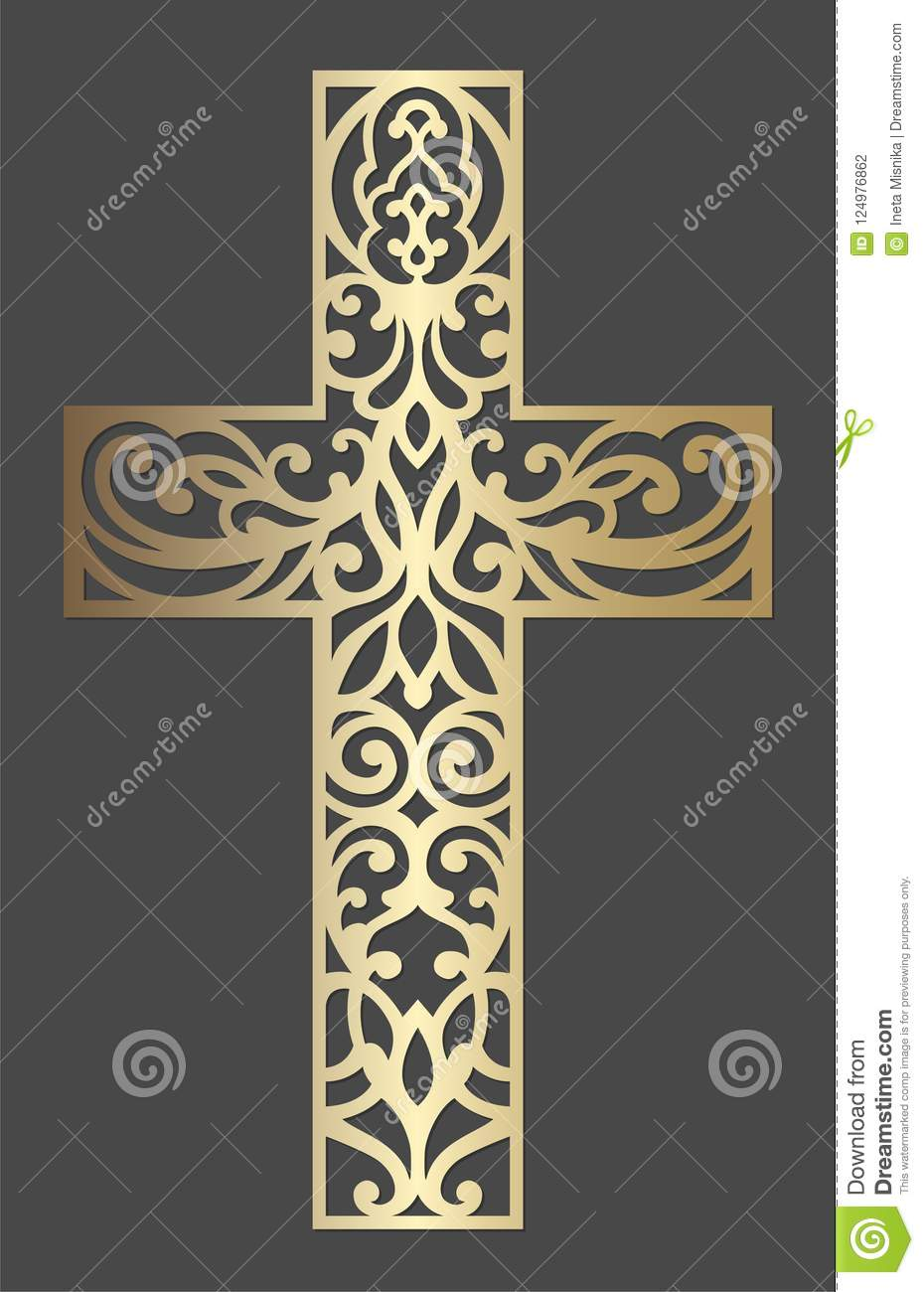 Laser Cut Cross Design  Ornamental Design Template  Stock Vector