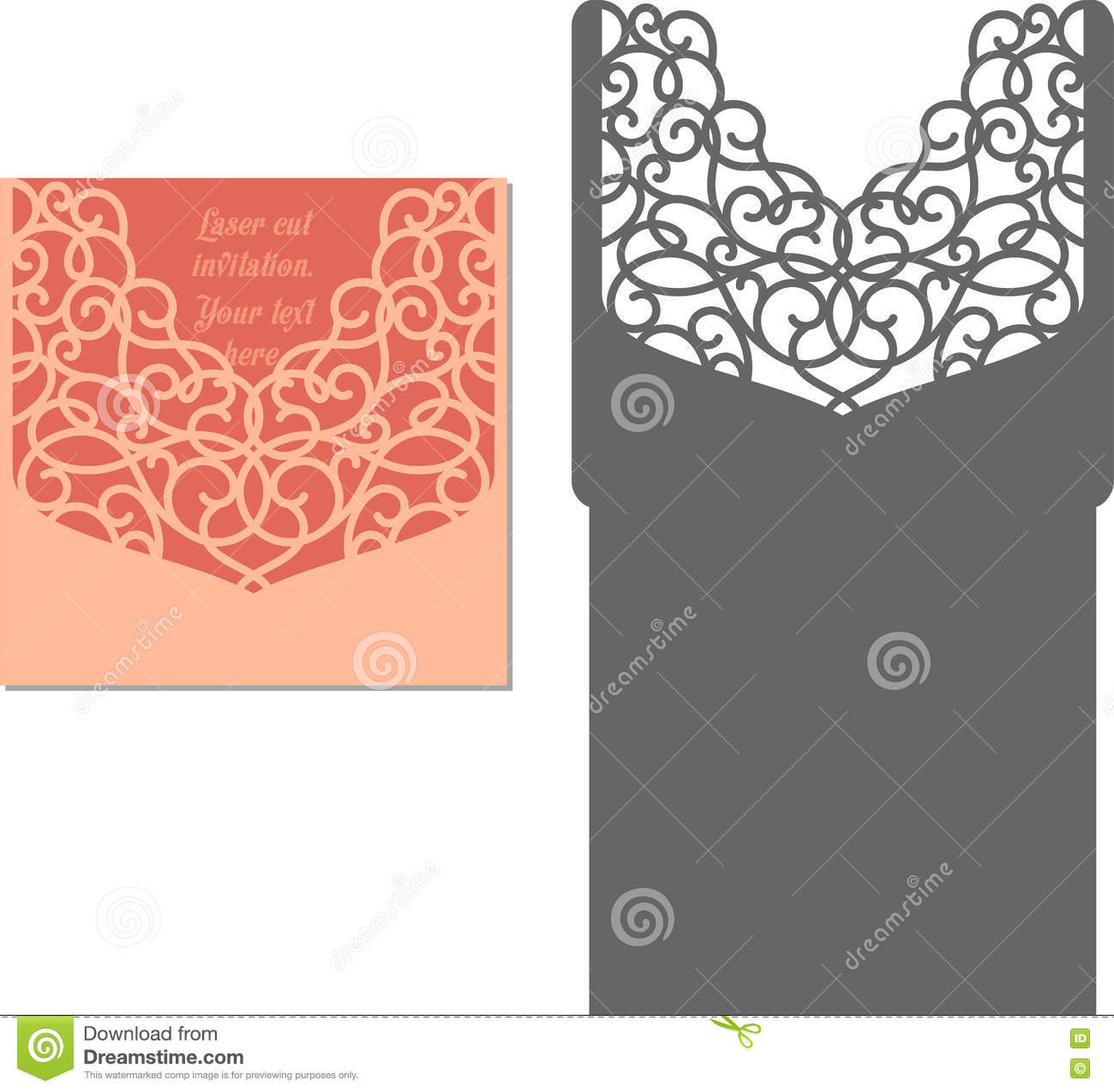 laser cut envelope template for invitation wedding card stock vector image 72590418. Black Bedroom Furniture Sets. Home Design Ideas