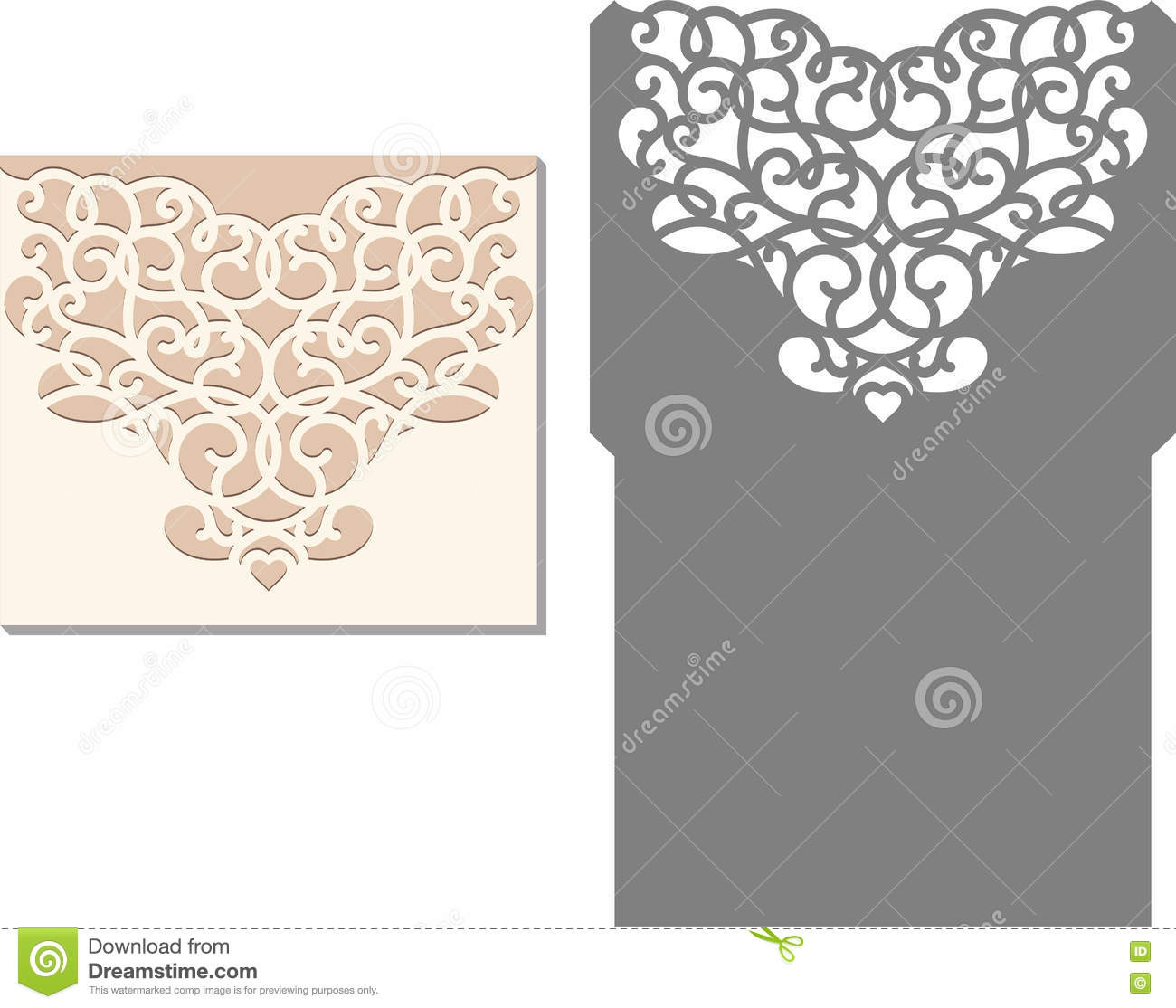 Laser Cut Envelope Template For Invitation Wedding Card Stock Vector ...