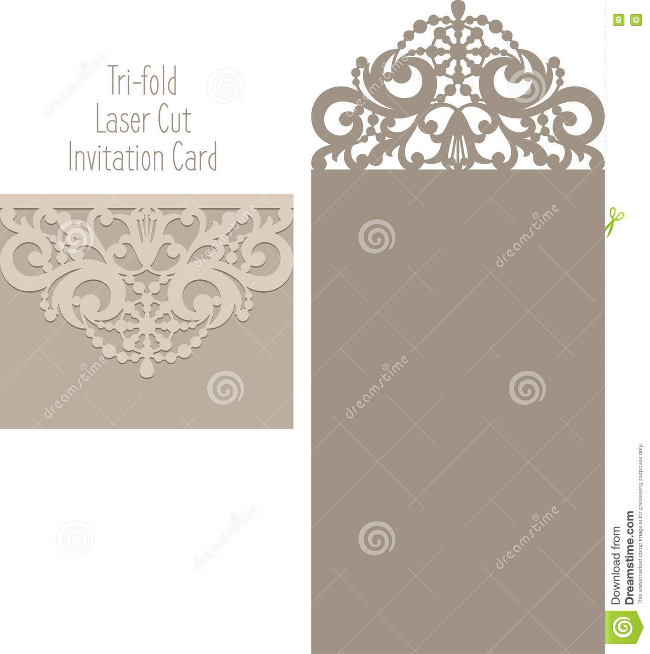 Laser Cut Envelope Template For Invitation Wedding Card. Decor, Abstract.