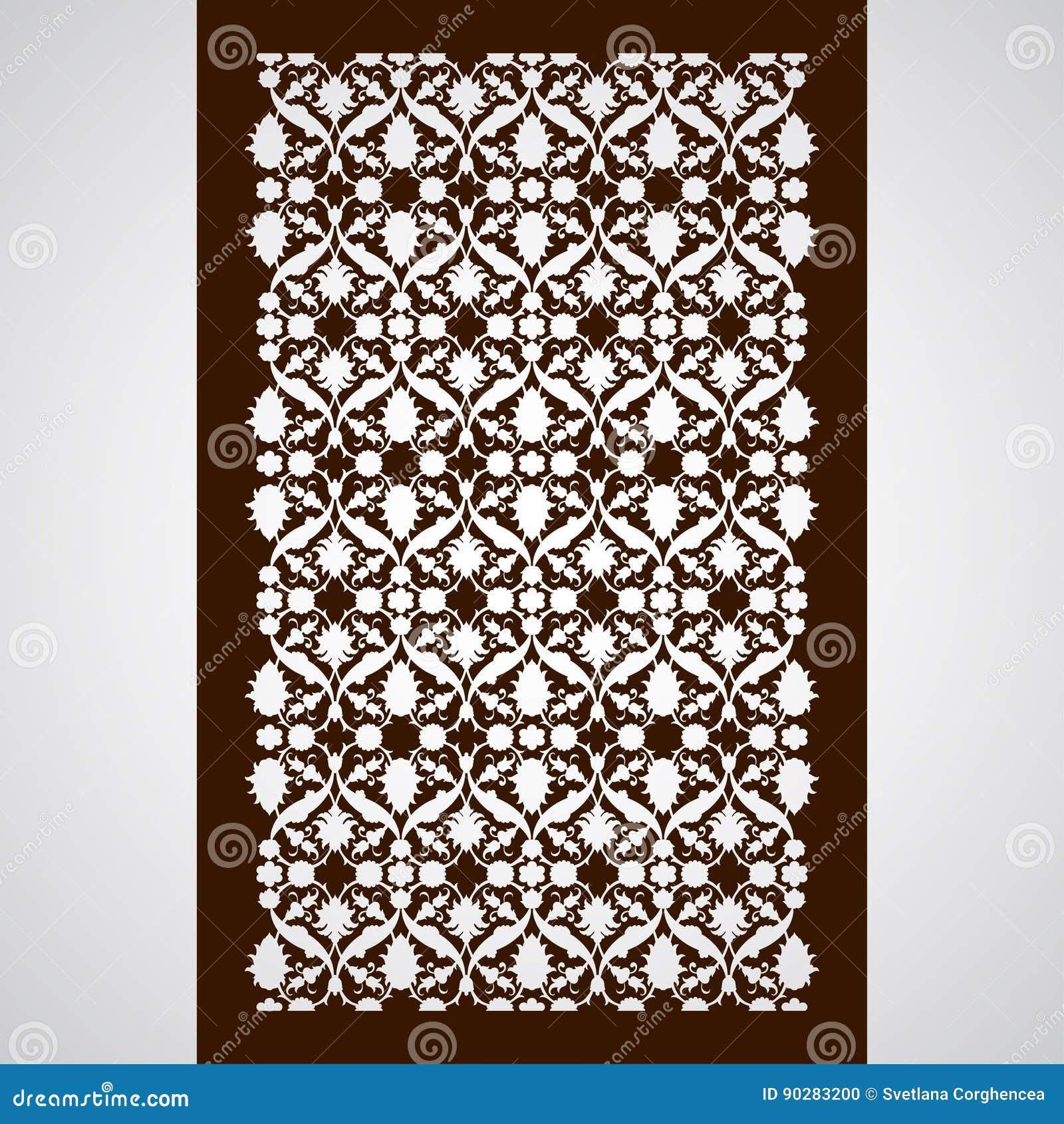 laser cut floral arabesque ornament pattern vector template cut