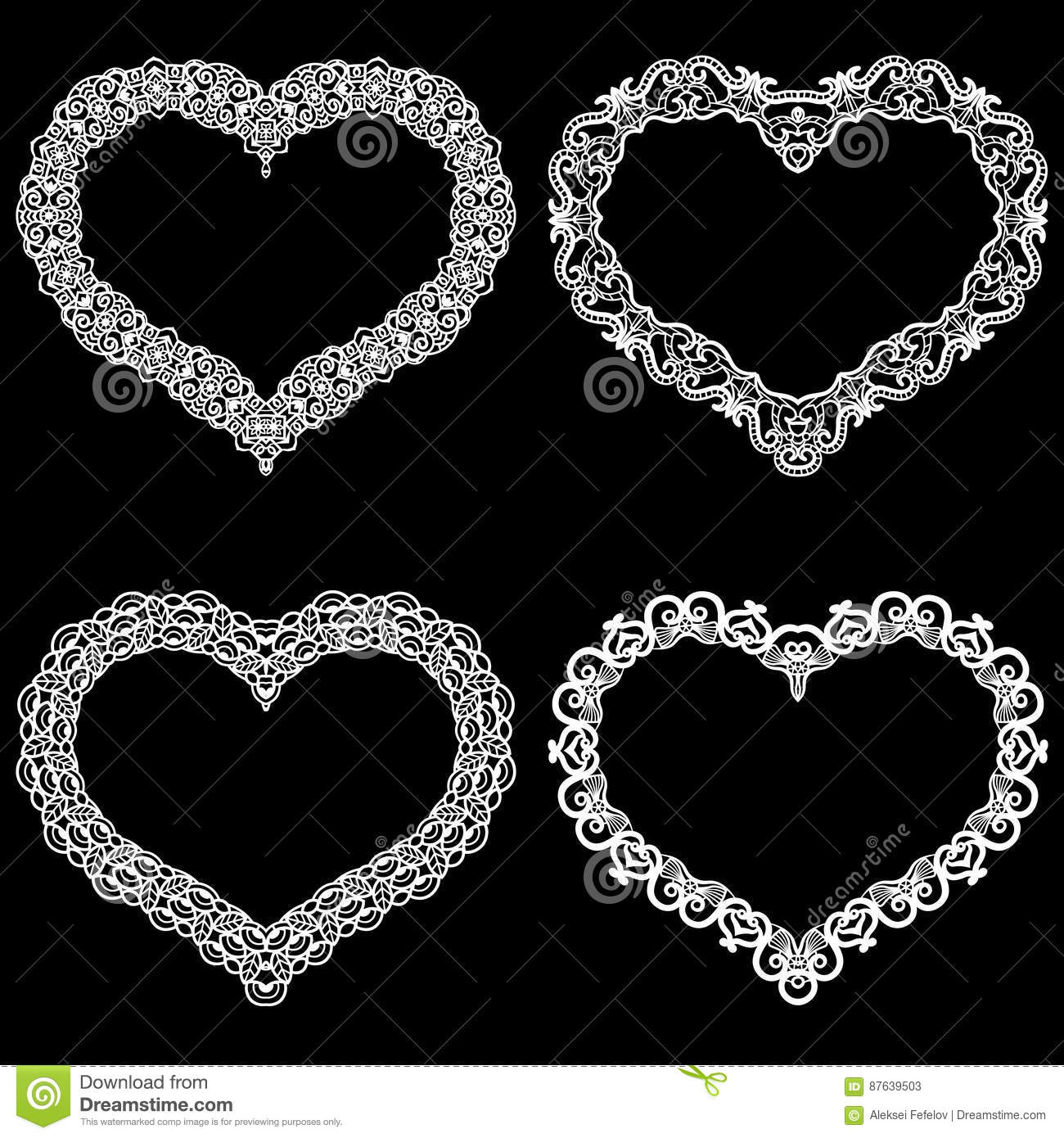 Set of lace paper with heart vector vector illustration for Border lace glam