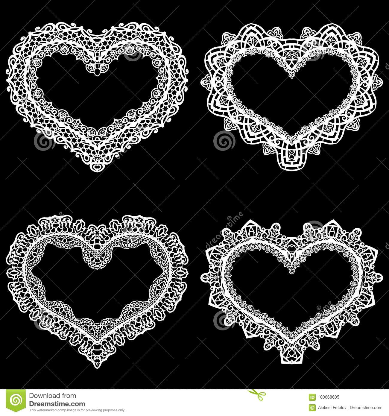 Laser Cut Frame In The Shape Of A Heart With Lace Border. A Set Of ...