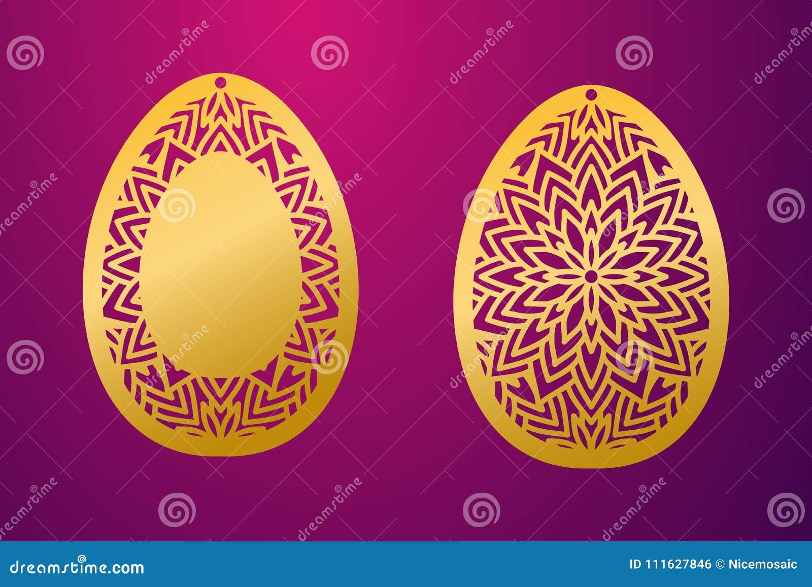 Laser Cut Happy Easter Egg Vector Stencil Ornamental Easter