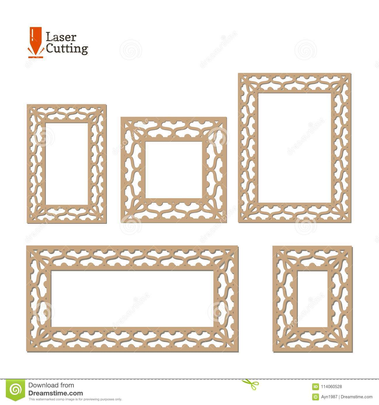 Laser Cut Panel Collection. Vector Set Frame Template For Cut On ...
