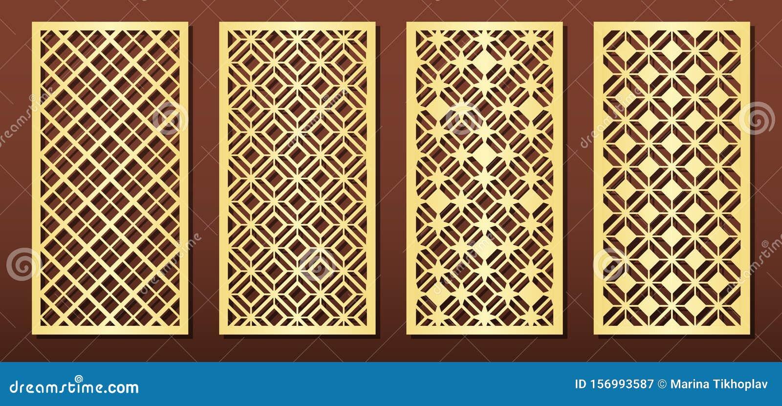 Laser Cut Panels Vector Set For Wood Or Metal Decor Arabic Geometric Pattern Stock Vector Illustration Of Islamic Engraving 156993587