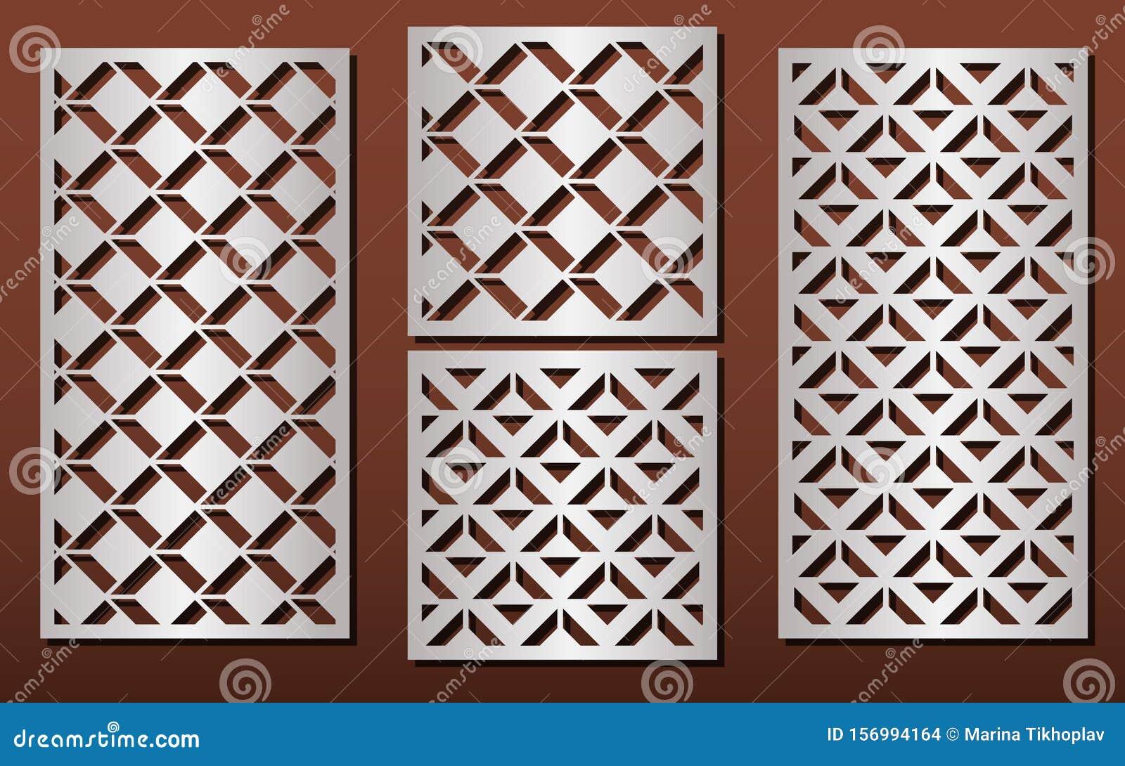 Laser Cut Panels Vector Set For Wood Or Metal Decor Arabic Geometric Pattern Stock Vector Illustration Of Fretwork Grid 156994164