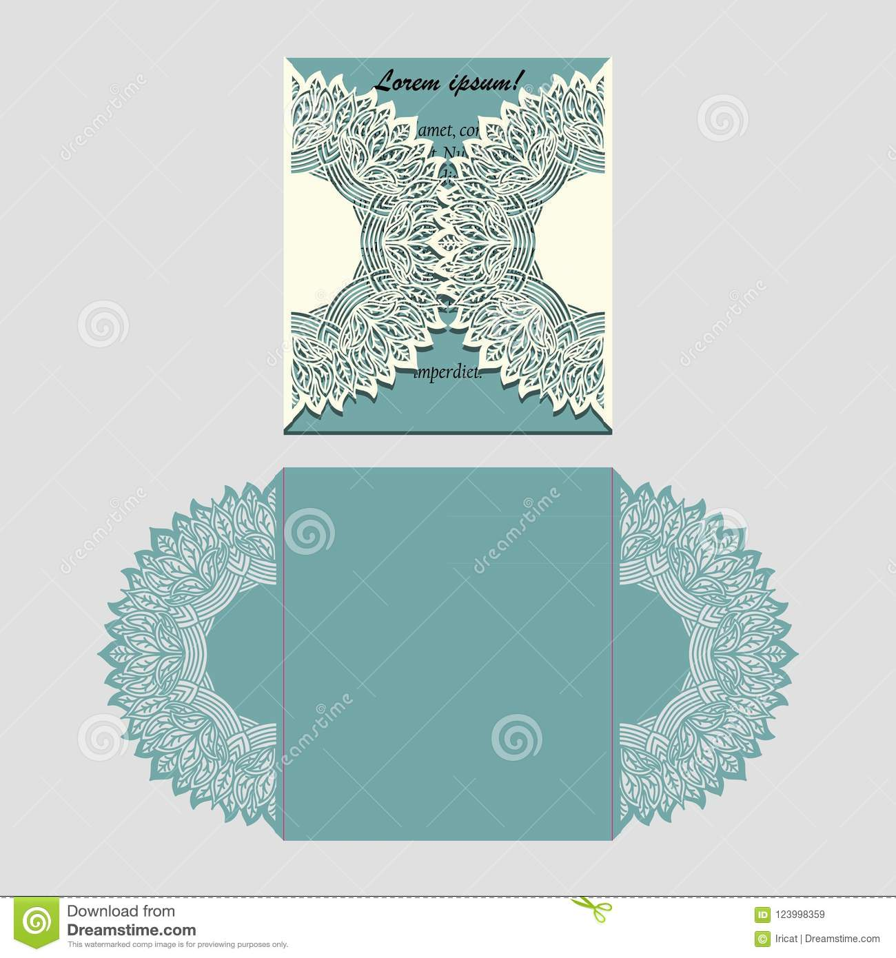 Laser Cut Paper Lace Folding Card With Mandala Element Cutting Template For Wedding Invitation Or