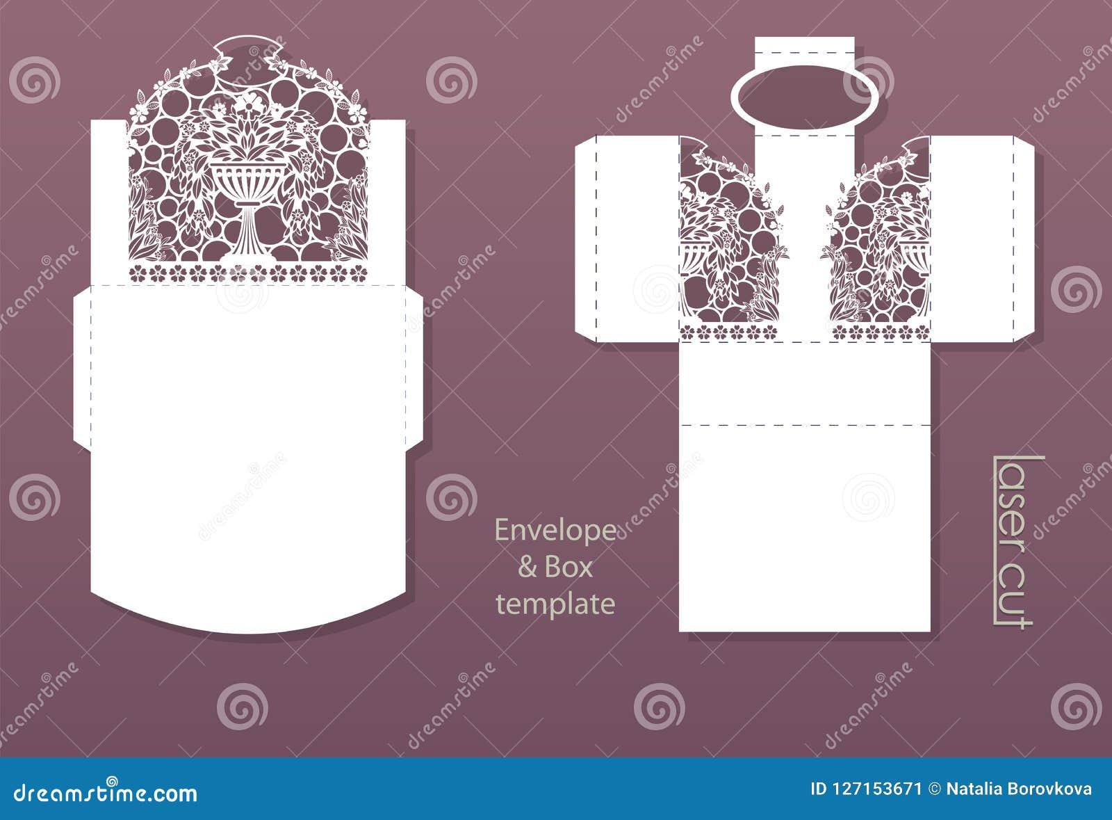 laser cut pattern envelope design for invitation cards flowerpot