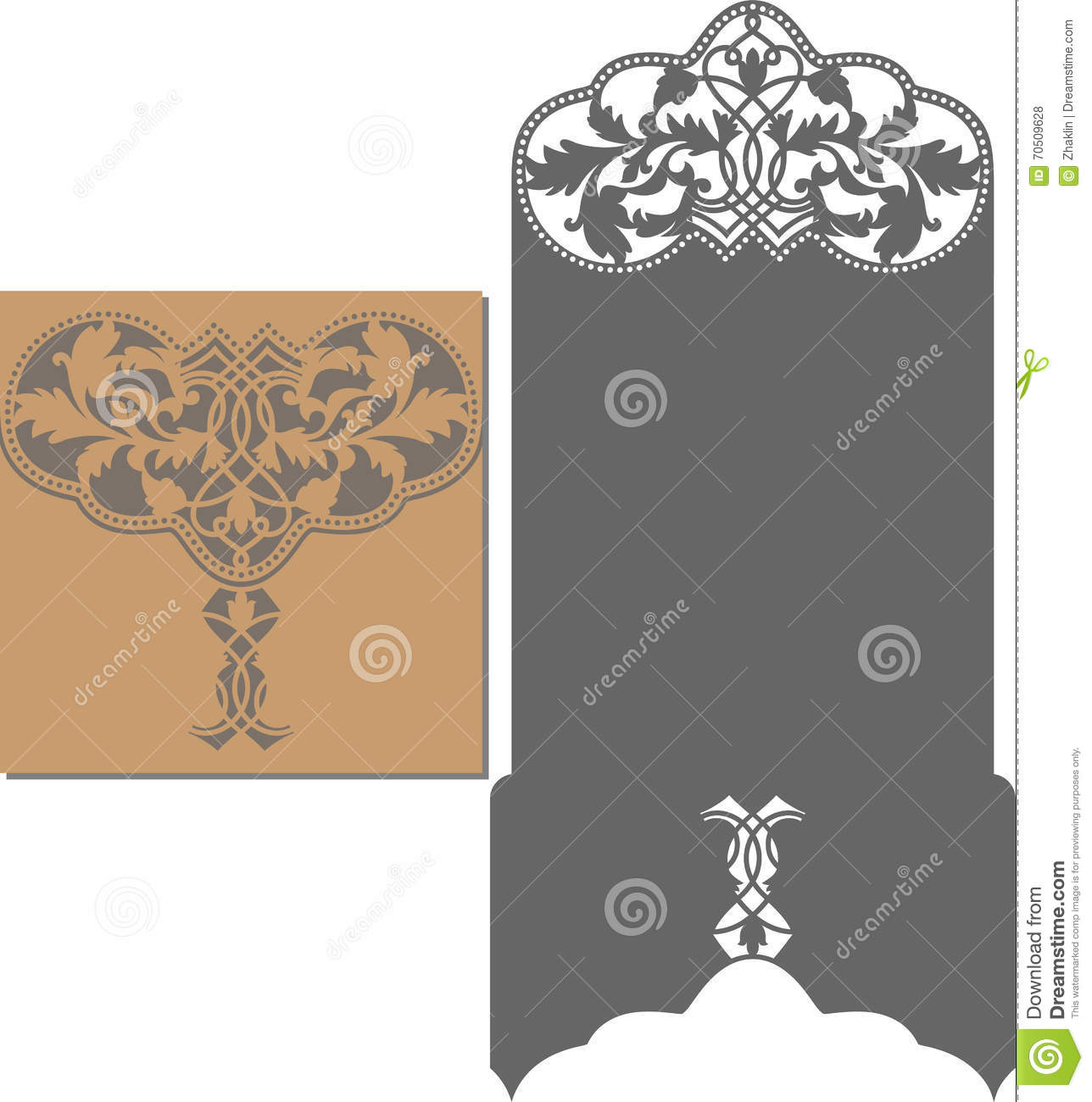 laser cut pattern for invitation card for wedding stock