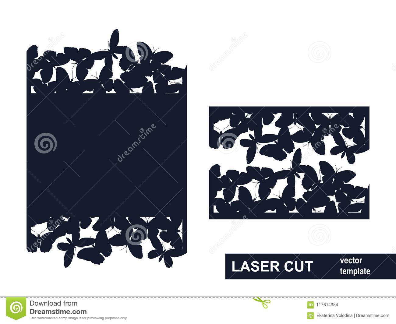 Laser Cut Template From Butterflies Stock Vector - Illustration of ...