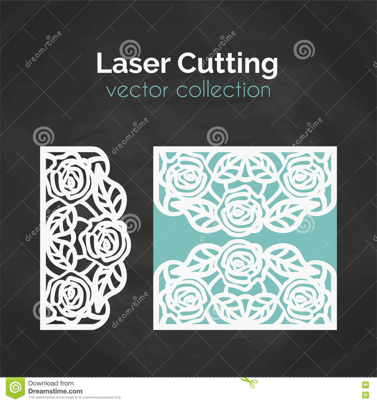 laser cut template card for cutting cutout illustration stock