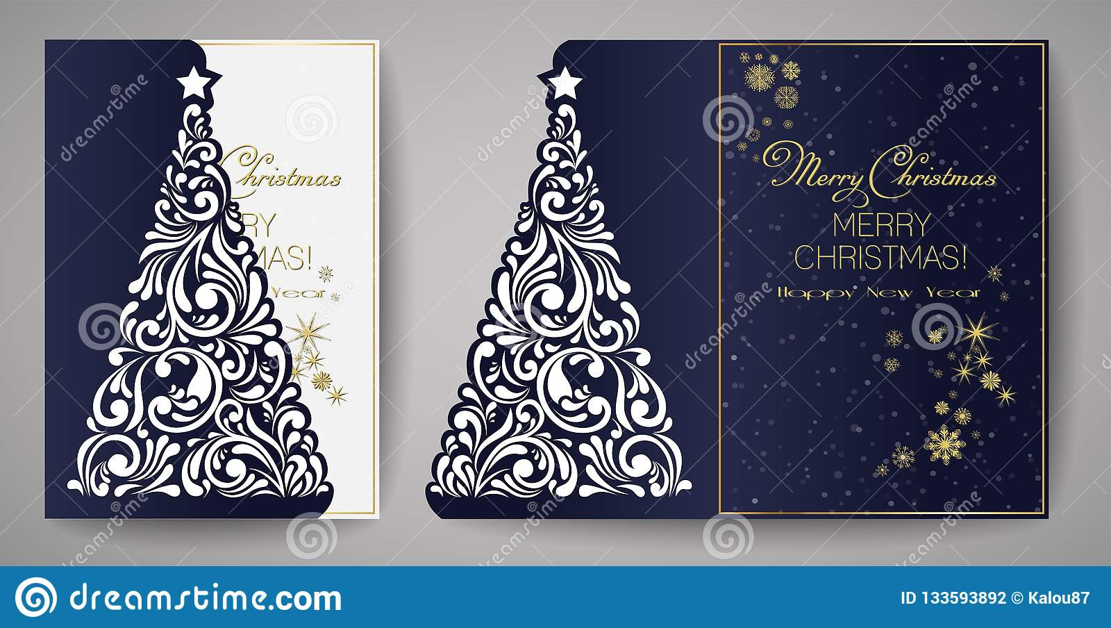 Christmas Cutout Patterns.Laser Cut Template For Christmas Cards Square Invitation