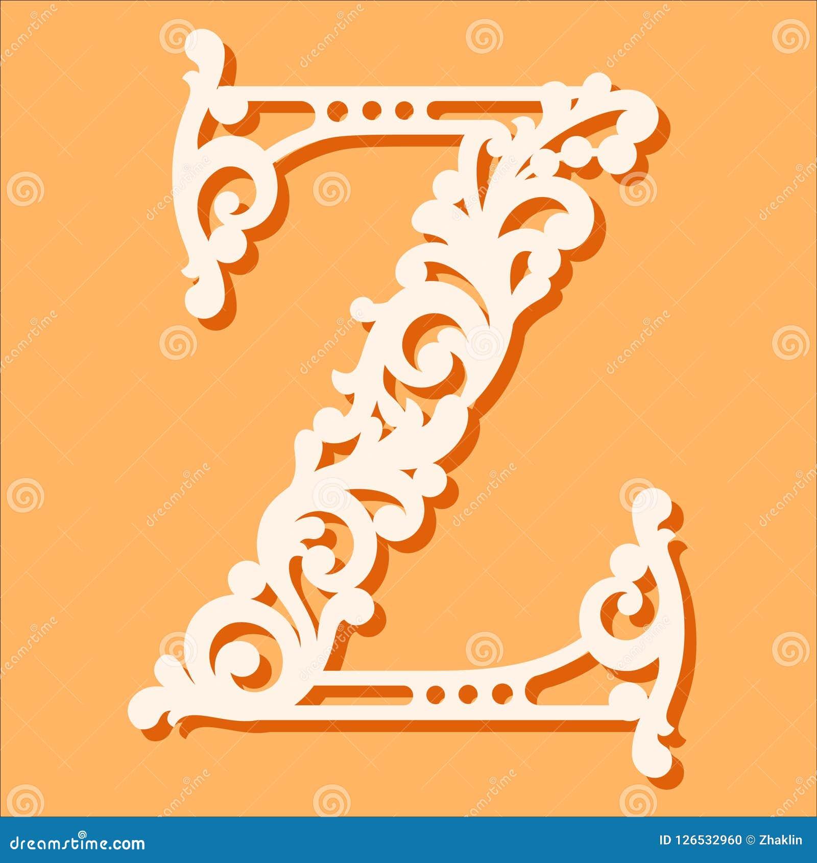 Laser cut template. Initial monogram letters. Fancy floral alphabet letter.