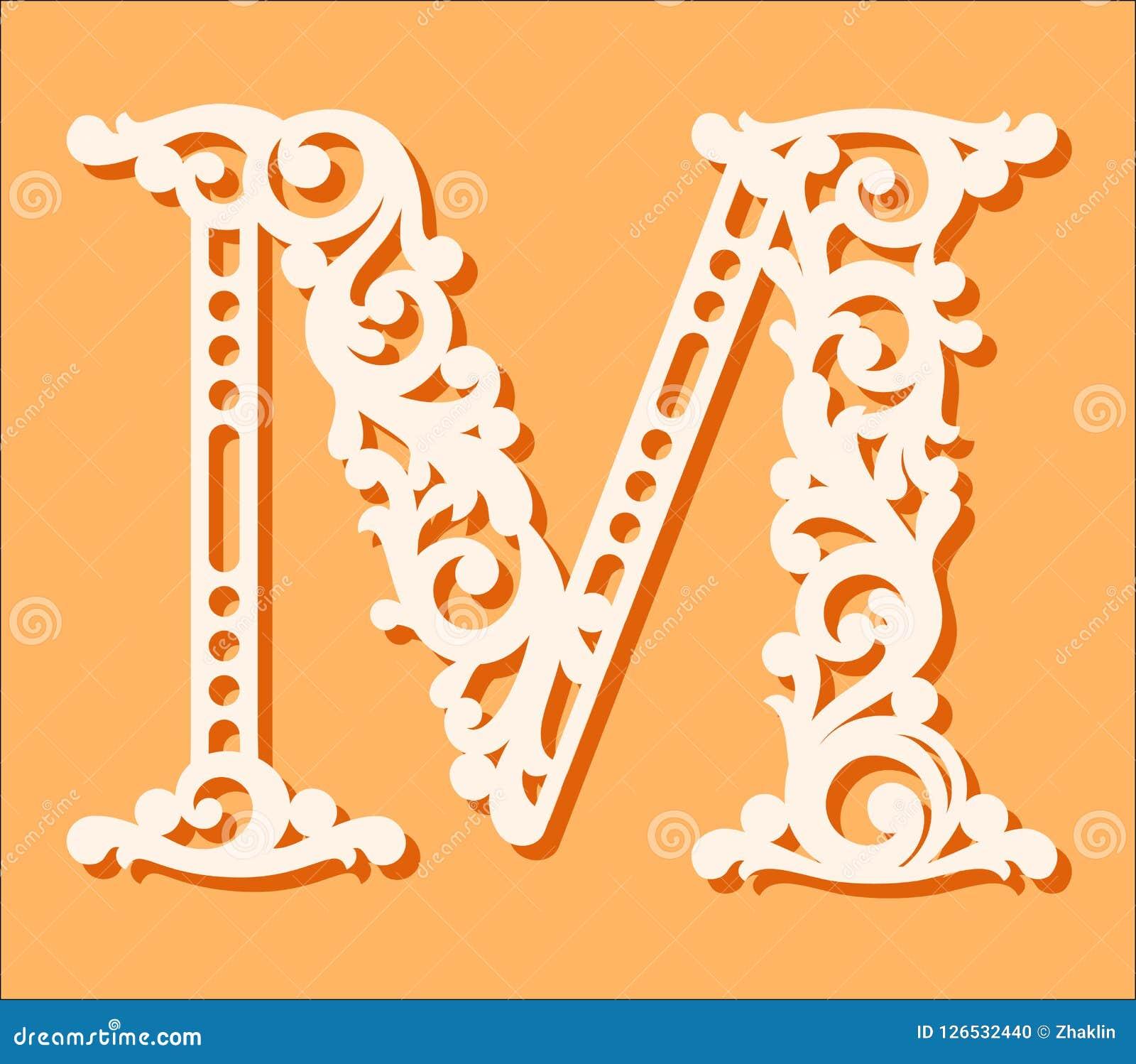 Laser Cut Template Initial Monogram Letters Fancy Floral Alphabet Letter