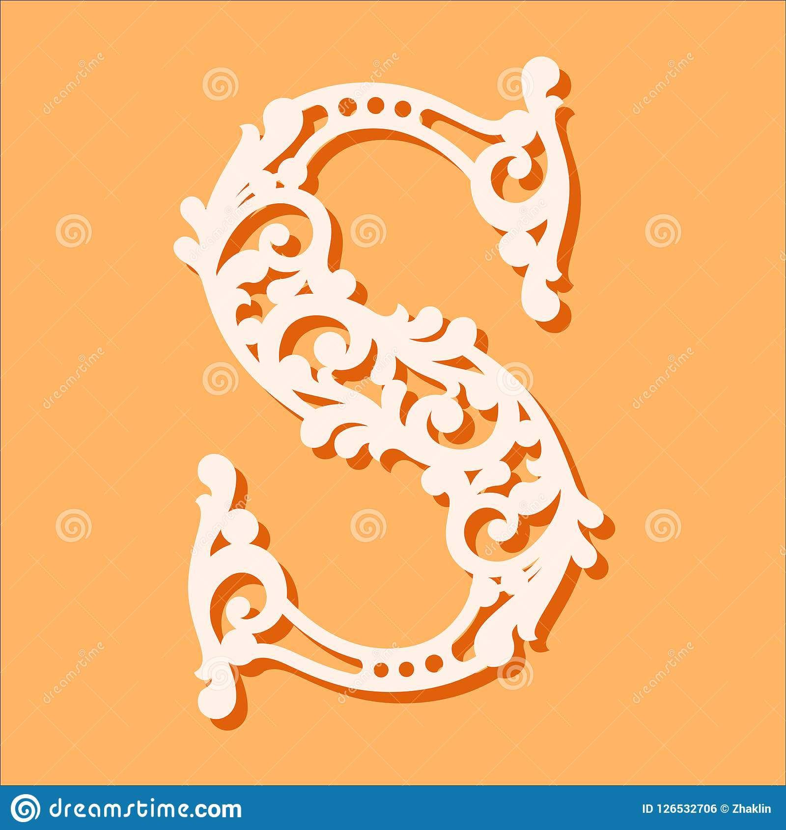 fancy letter s template  Laser Cut Template. Initial Monogram Letters. Fancy Floral ...