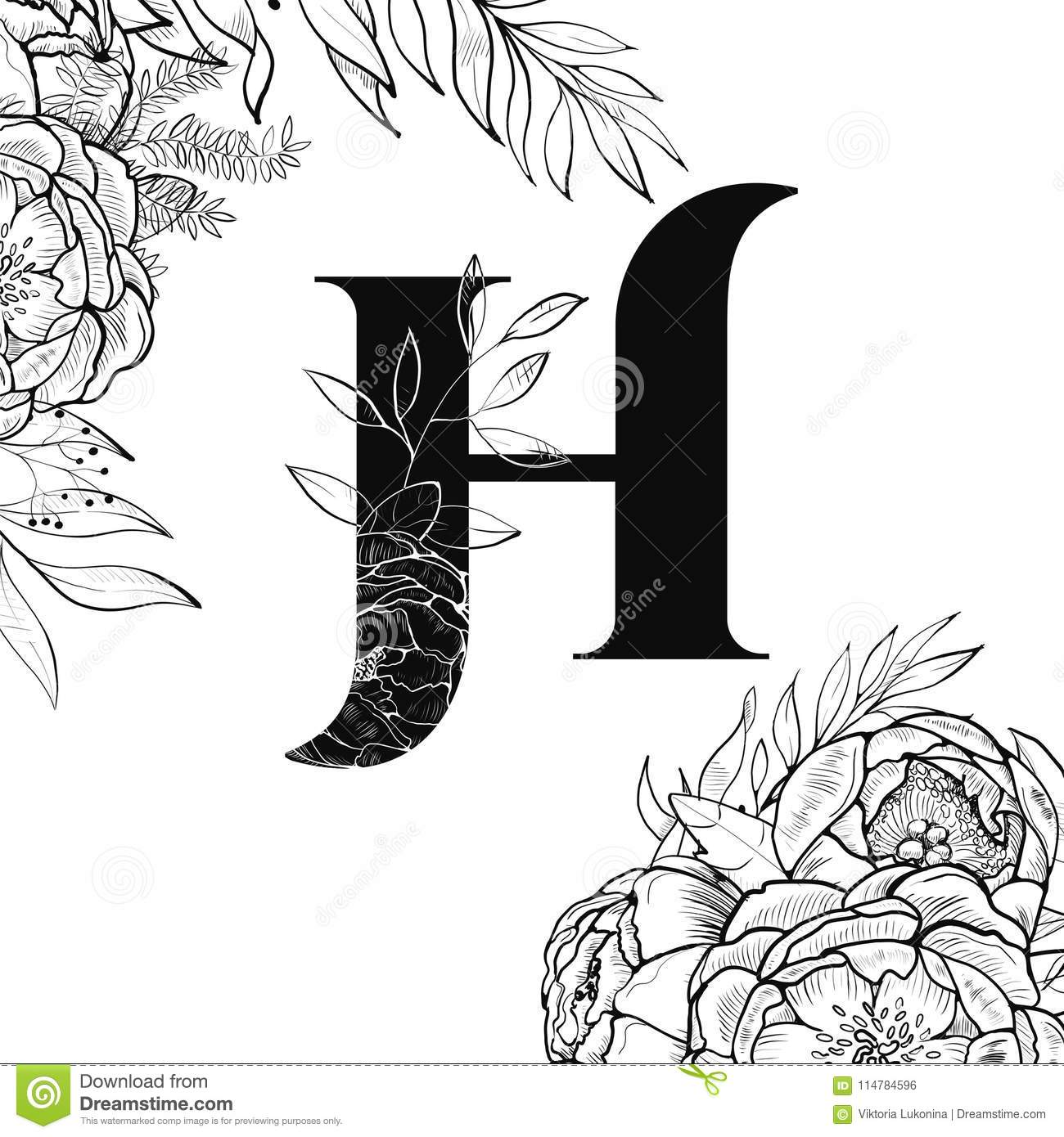fancy letter s template  Flower Alphabet Letter H Pattern Stock Vector - Illustration ...