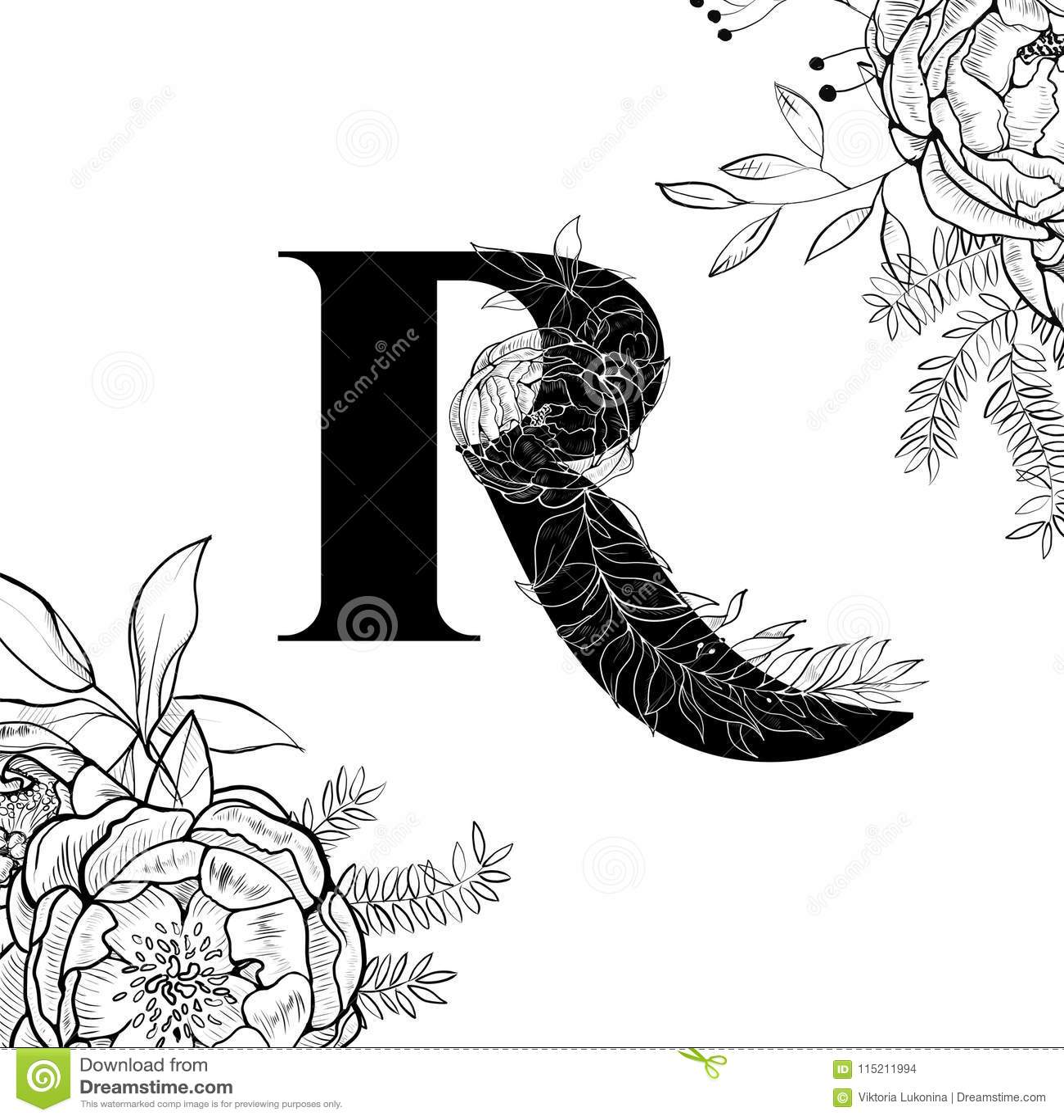 Royalty Free Vector Download Flower Alphabet Letter R Pattern Stock