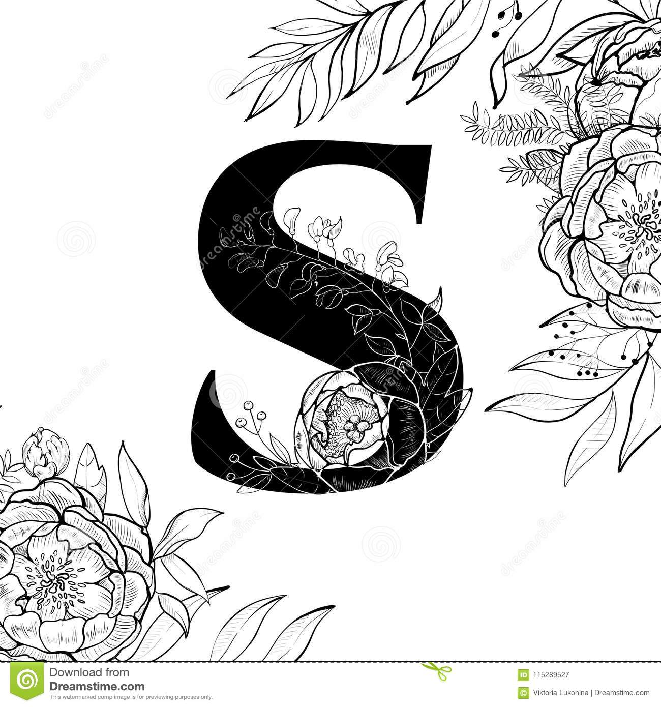 fancy letter s template  Flower Alphabet Letter S Pattern Stock Vector - Illustration ...