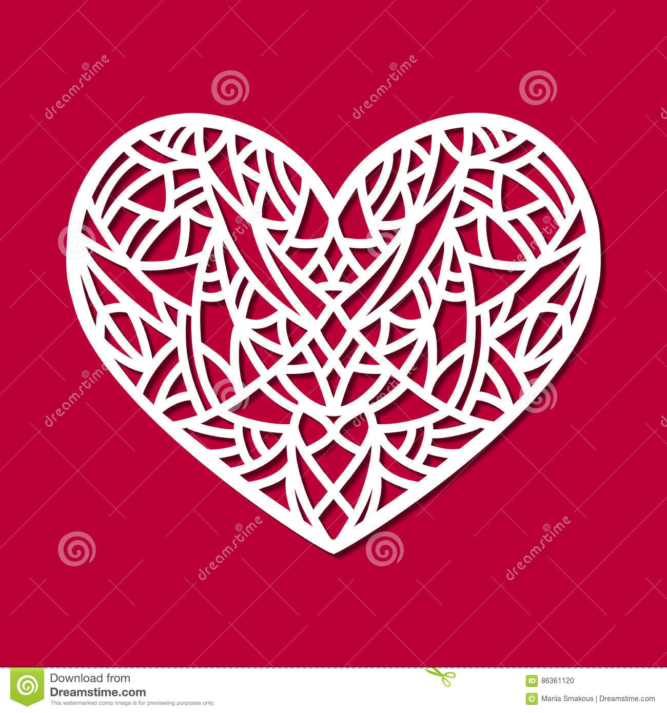 Laser Cut Vector Heart Ornament. Cutout Pattern Silhouette With ...