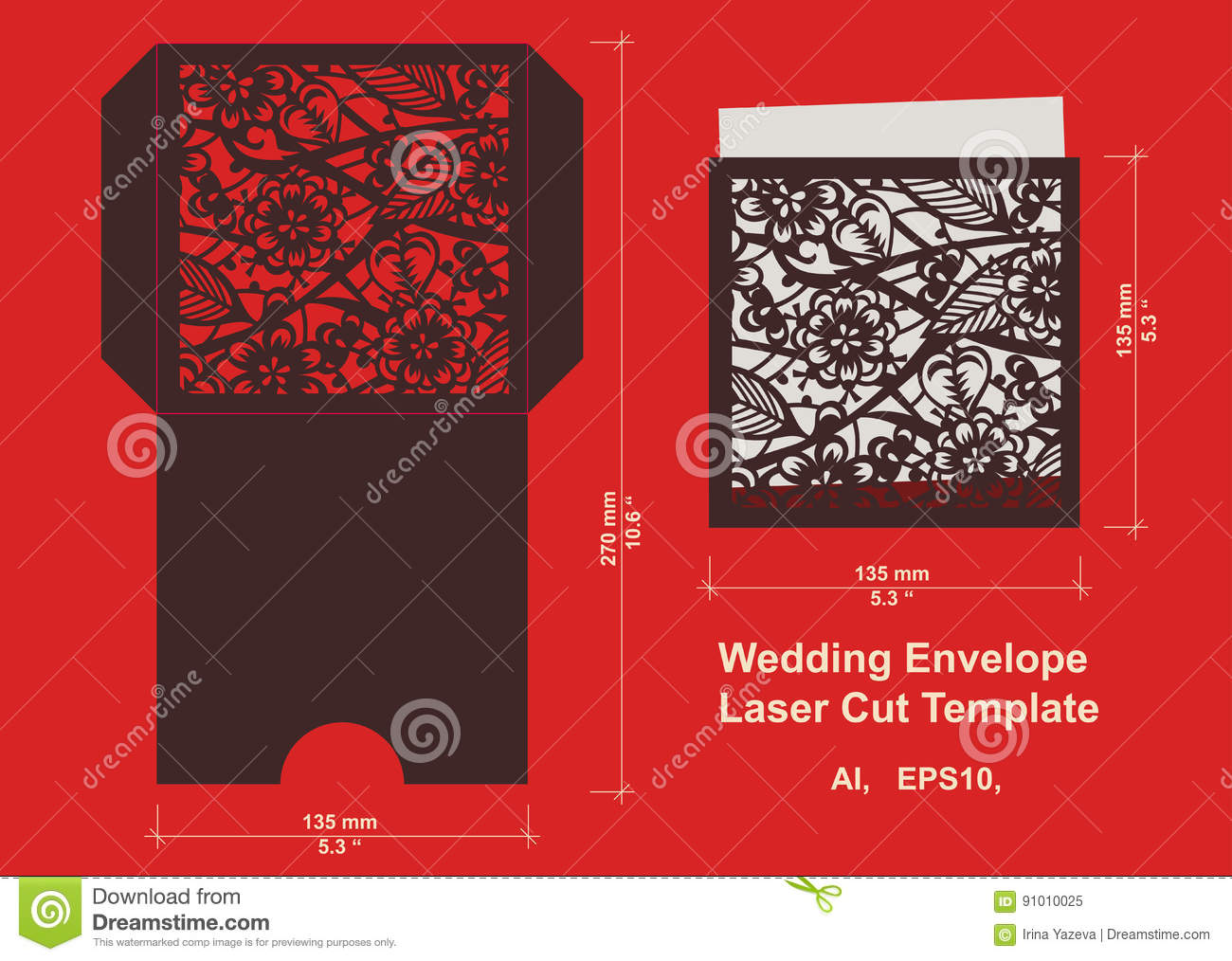 Laser cut vector template stock vector illustration of decorative laser cut flower pattern for wedding invitation envelope vector template ready for printing postcards packets wedding invitation engraving paper wood stopboris Choice Image