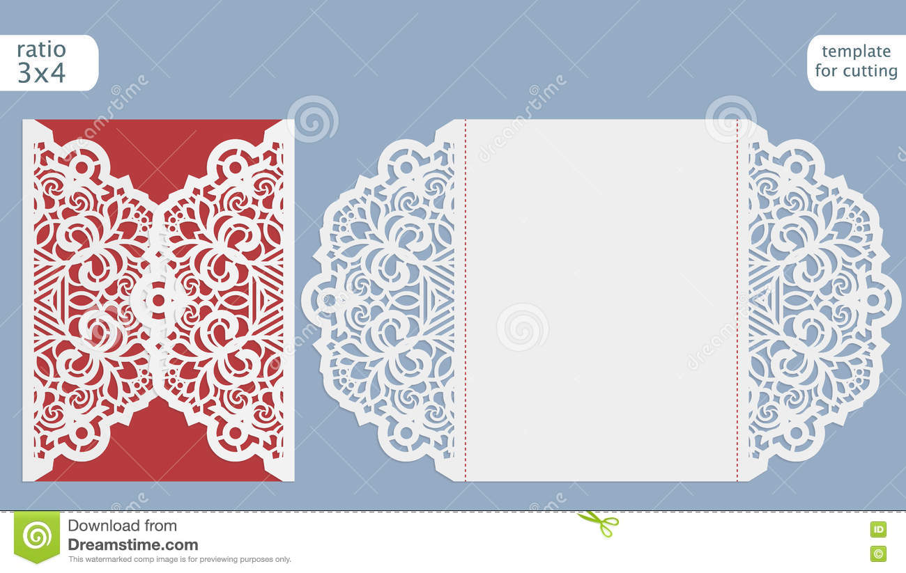 Laser Cut Wedding Invitation Card Template. Cut Out The Paper Card