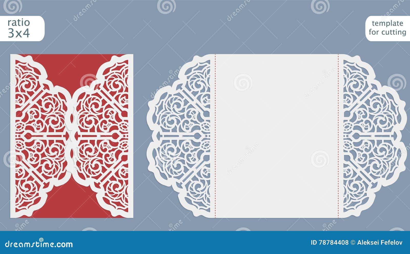 Wedding Invitation Card Paper: Laser Cut Wedding Invitation Card Template. Cut Out The