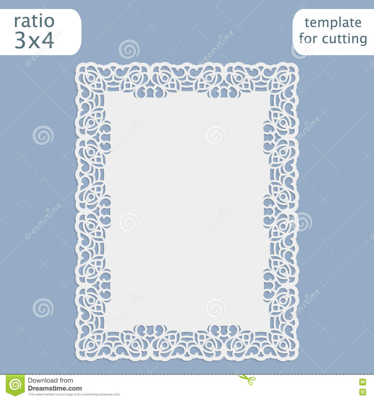 Laser Cut Wedding Invitation Card Template With Openwork Border – Paper Border Designs Templates