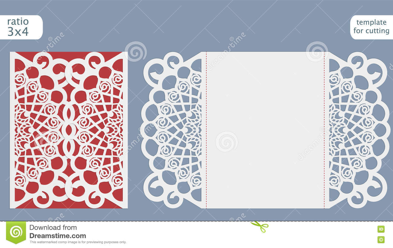 Laser Cut Wedding Invitation Card Template Vector. Die Cut Paper ... for Laser Cut Designs Paper  51ane