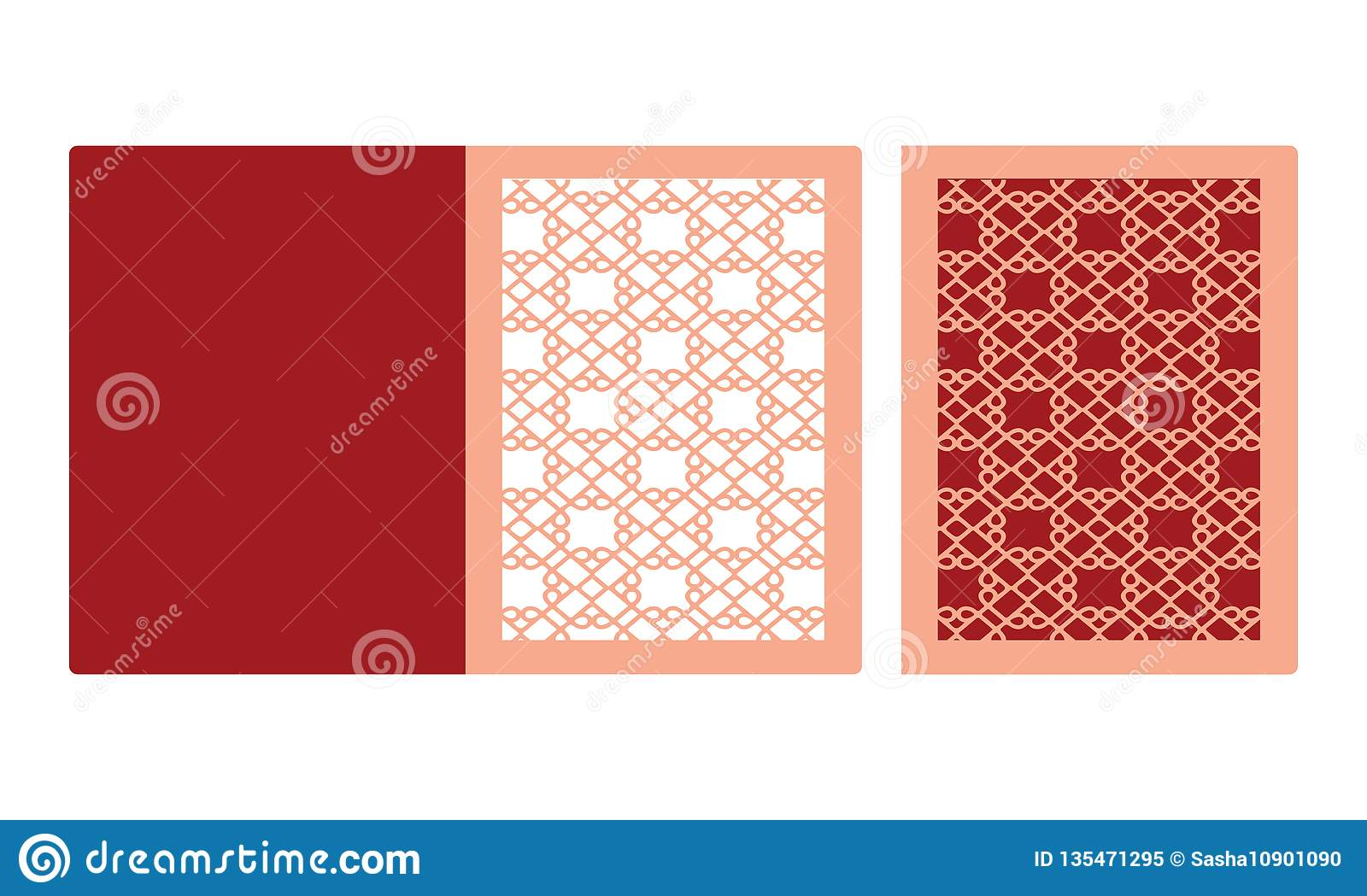 Laser Cut Wedding Invitation Die Cut Paper Card With Lace