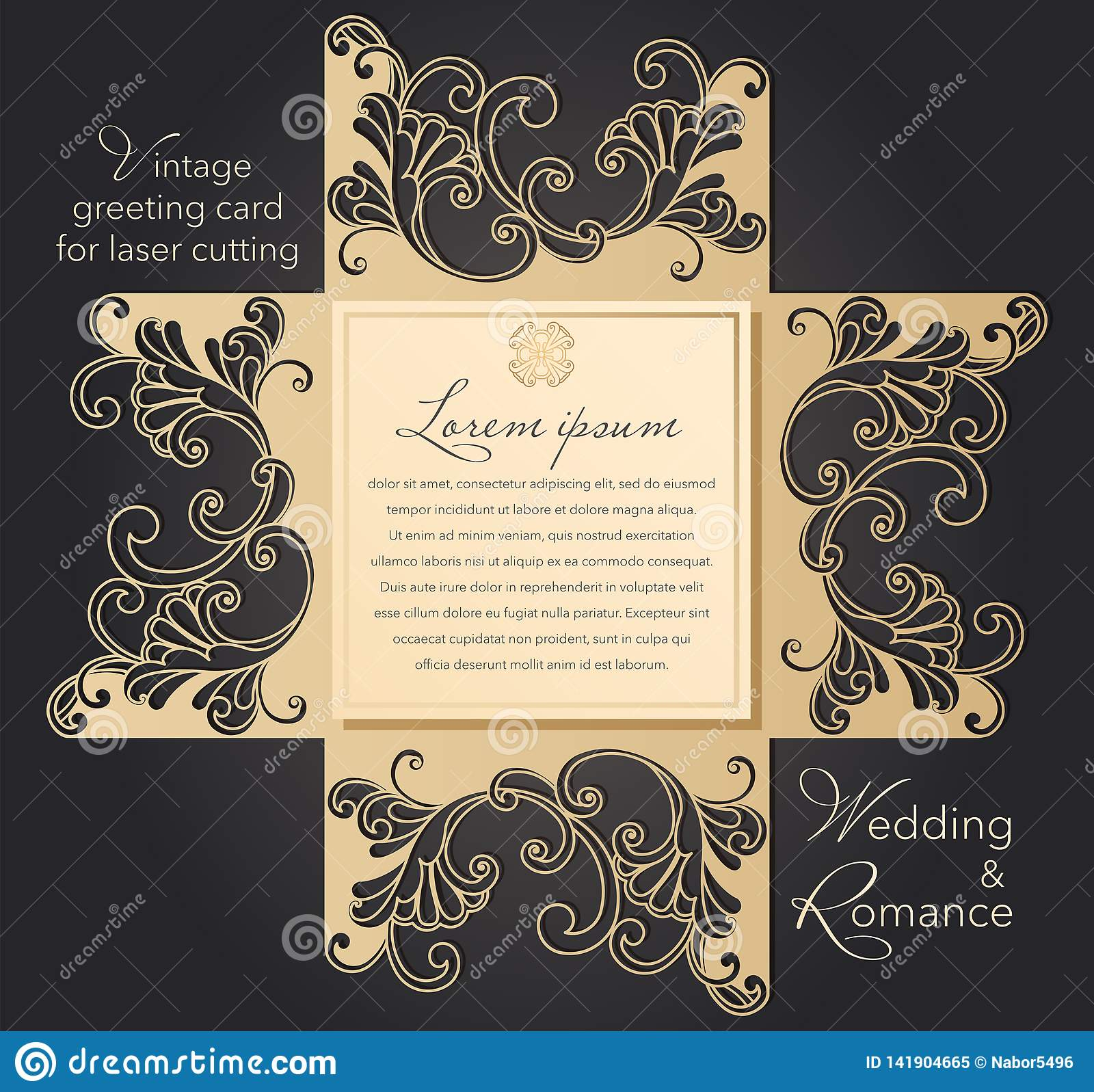 Laser Cut Wedding Invitation Template With Lace Pattern In Vintage