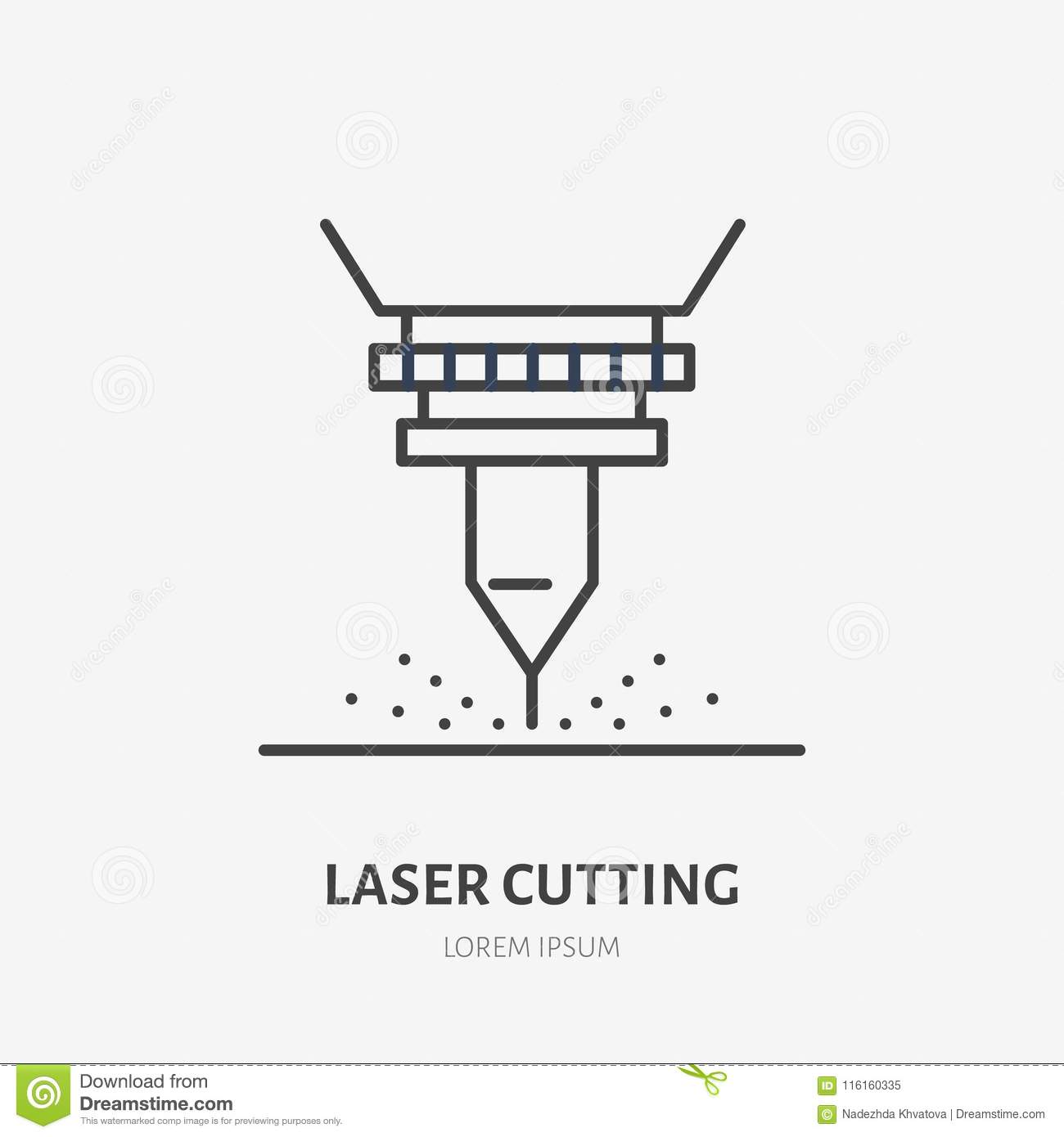 Laser Cutting Flat Line Icon  Metal Works Tool Sign  Thin