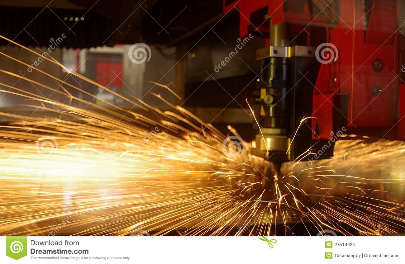 Laser Cutting Of Metal Sheet With Sparks Royalty Free