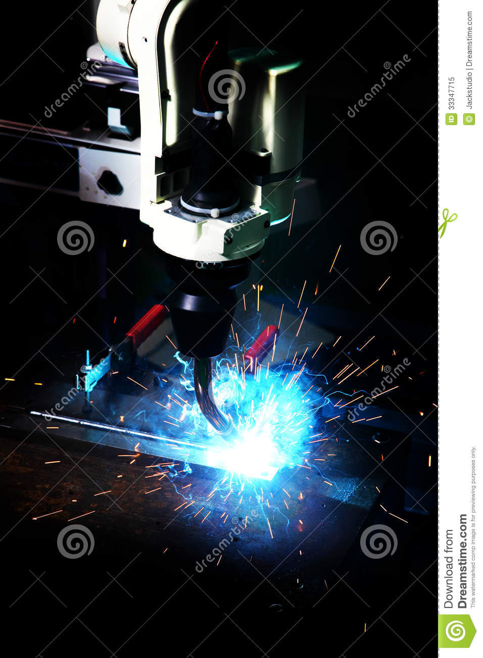 Laser Cutting Of Metal Sheet With Sparks Stock Image