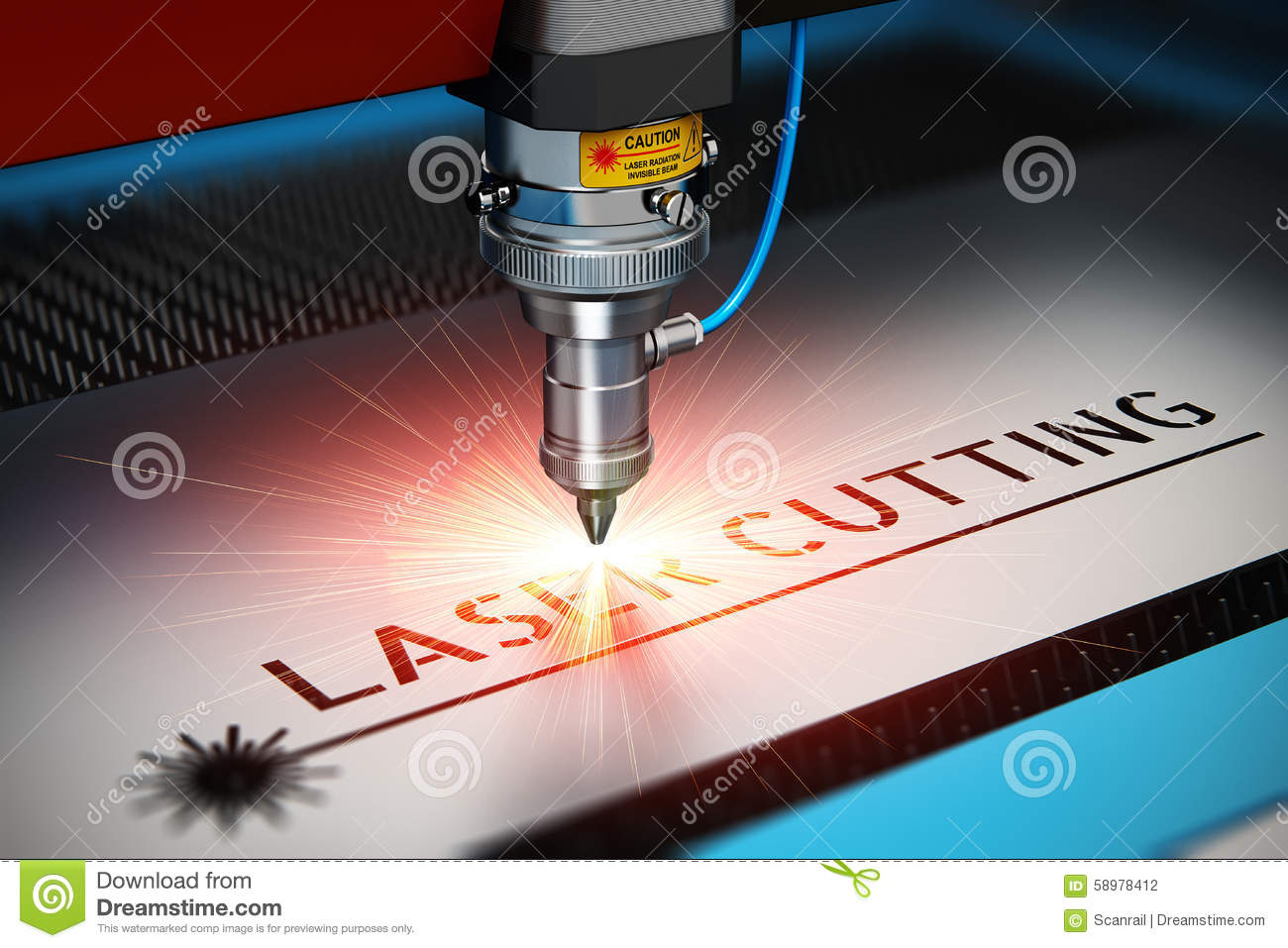 Laser cutting metal industry concept: macro view of industrial digital ...