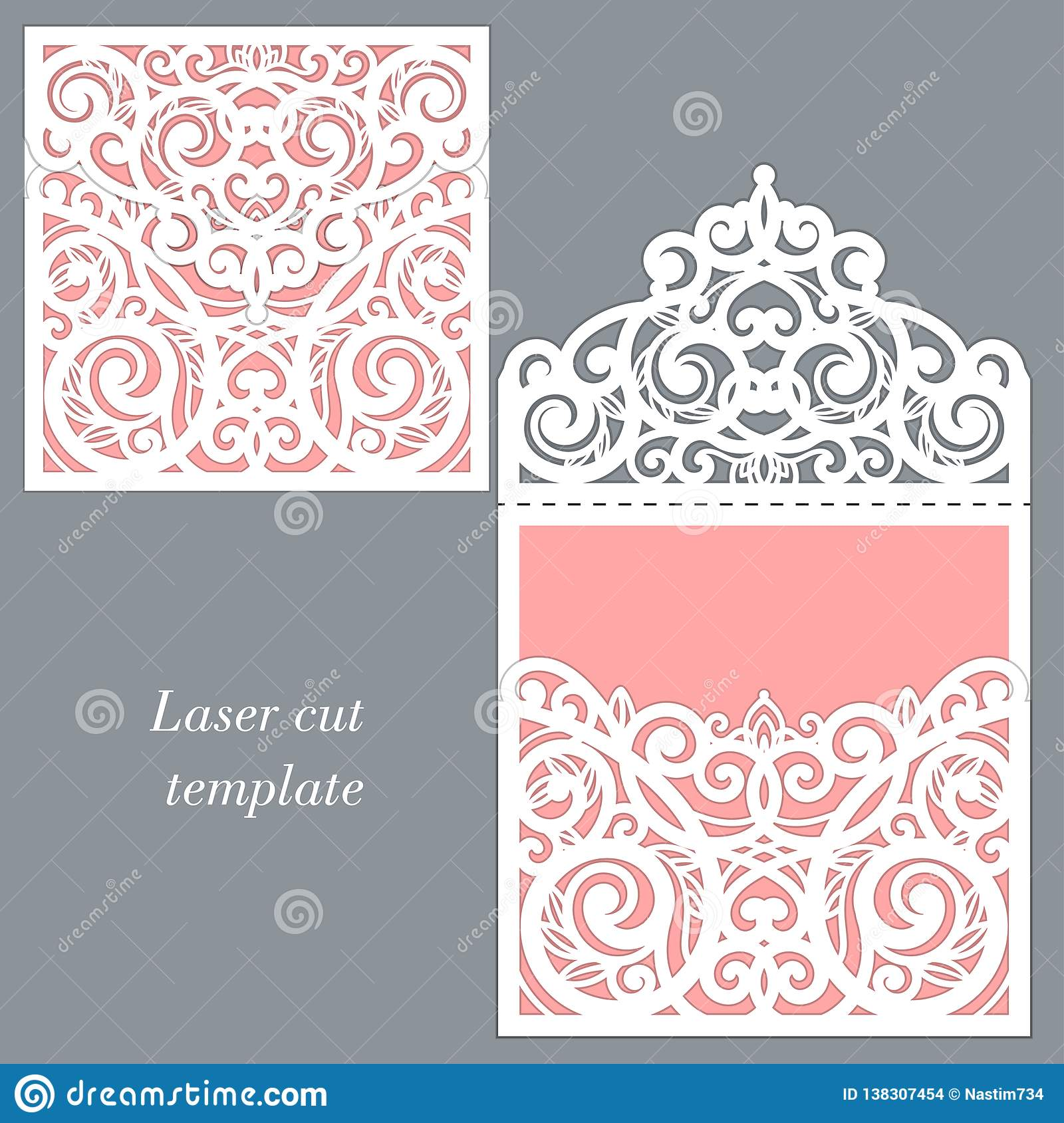 Laser cutting template. Envelope for wedding invitation. Vector