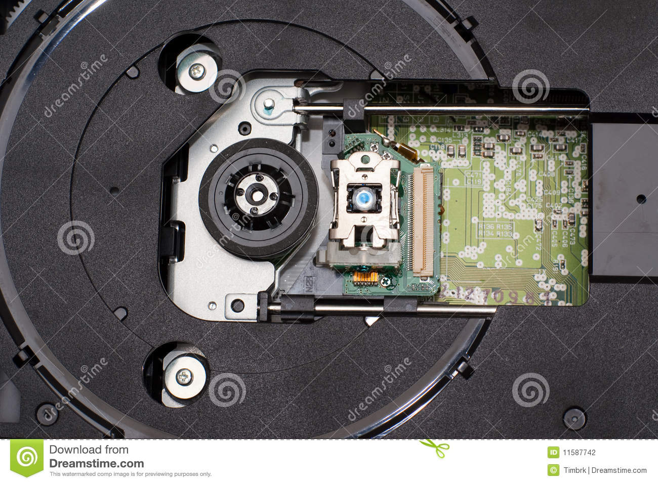 Download Laser head in CD drive stock photo. Image of unit, dvdrom - 11587742