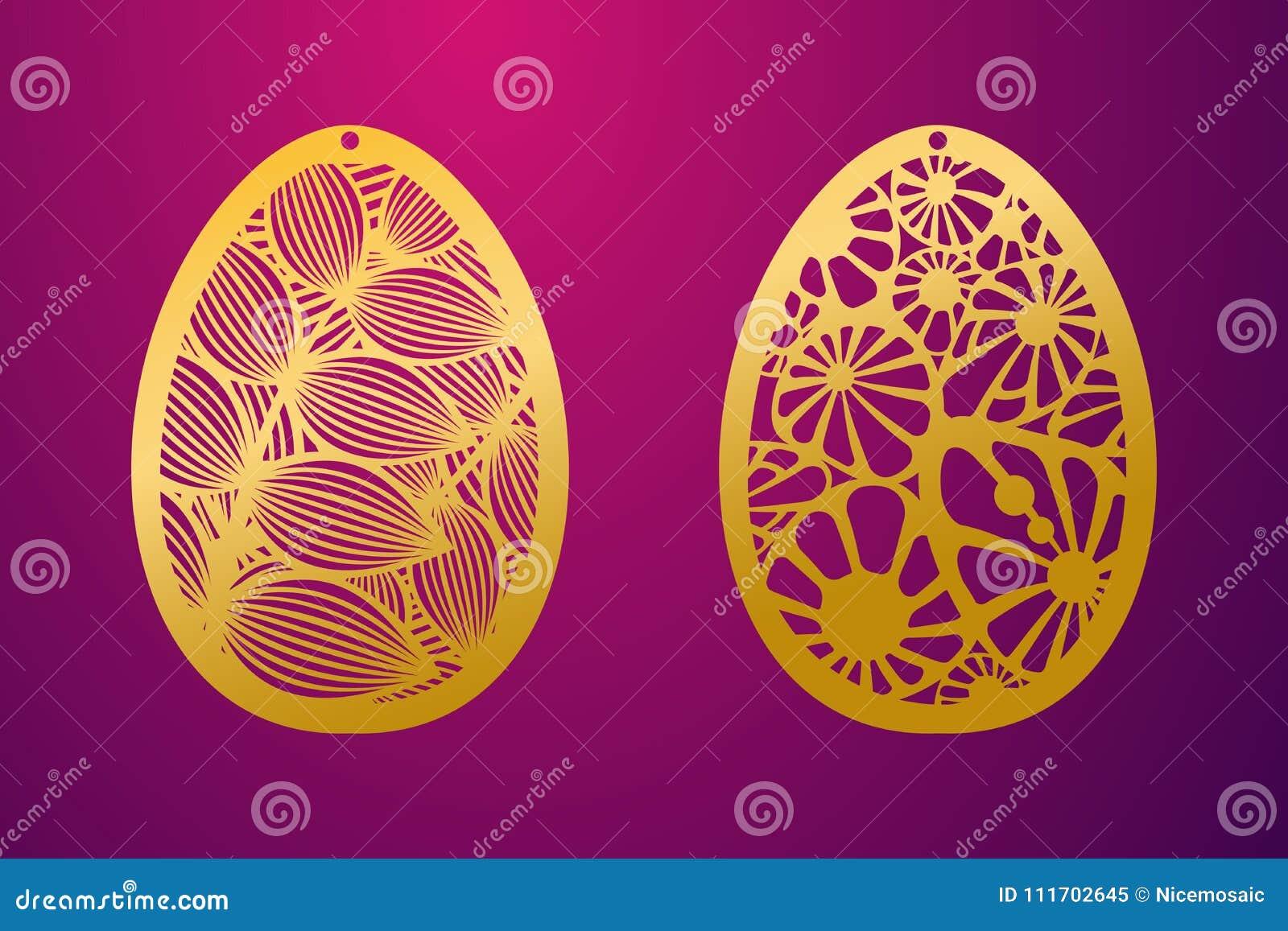 Laser klippt lyckligt påskägg Ägg för påsk för vektorstencil dekorativt
