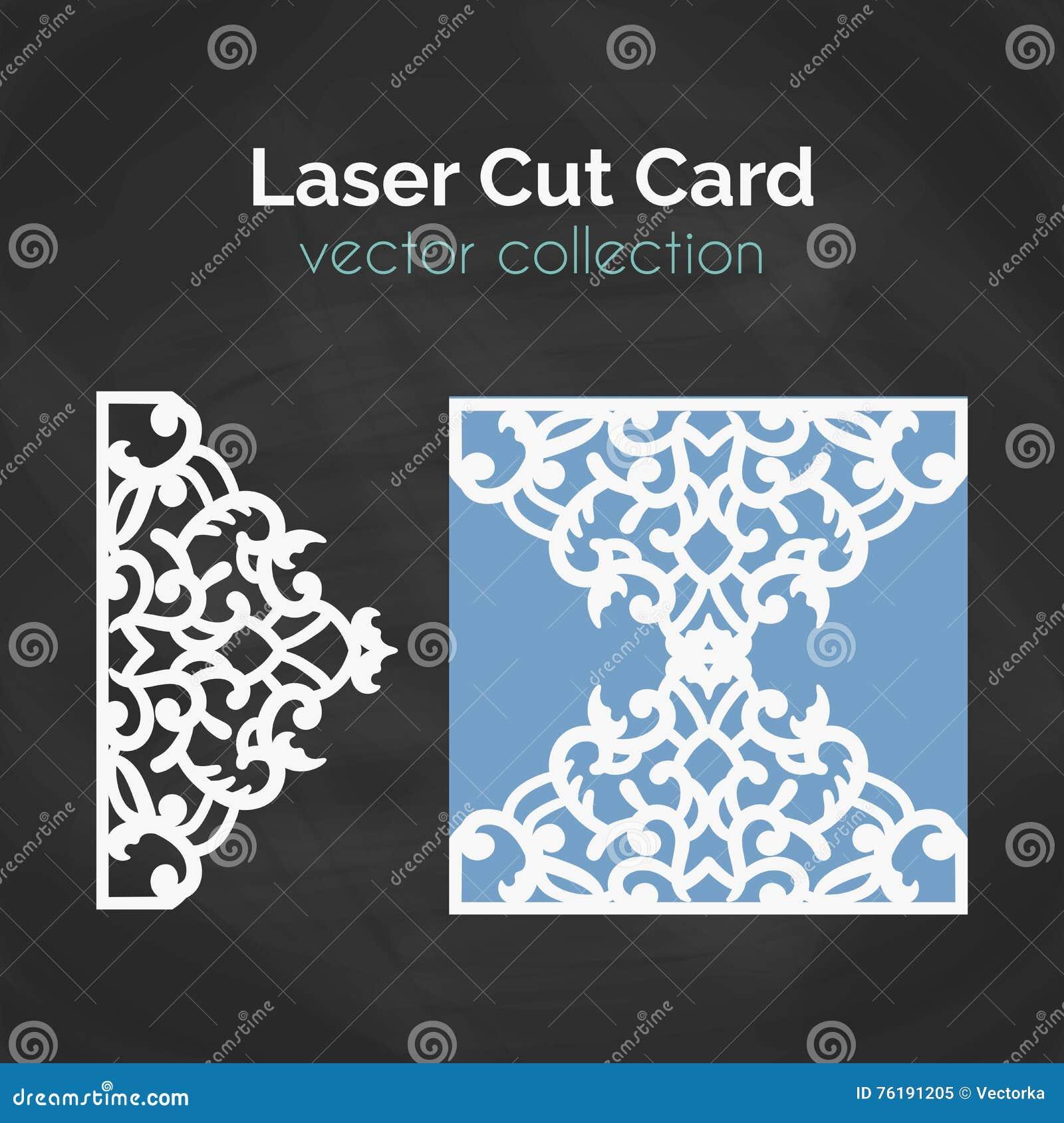 Laser-snittkort Mall för laser-klipp Utklippillustration med abstrakt garnering Stansat gifta sig inbjudan