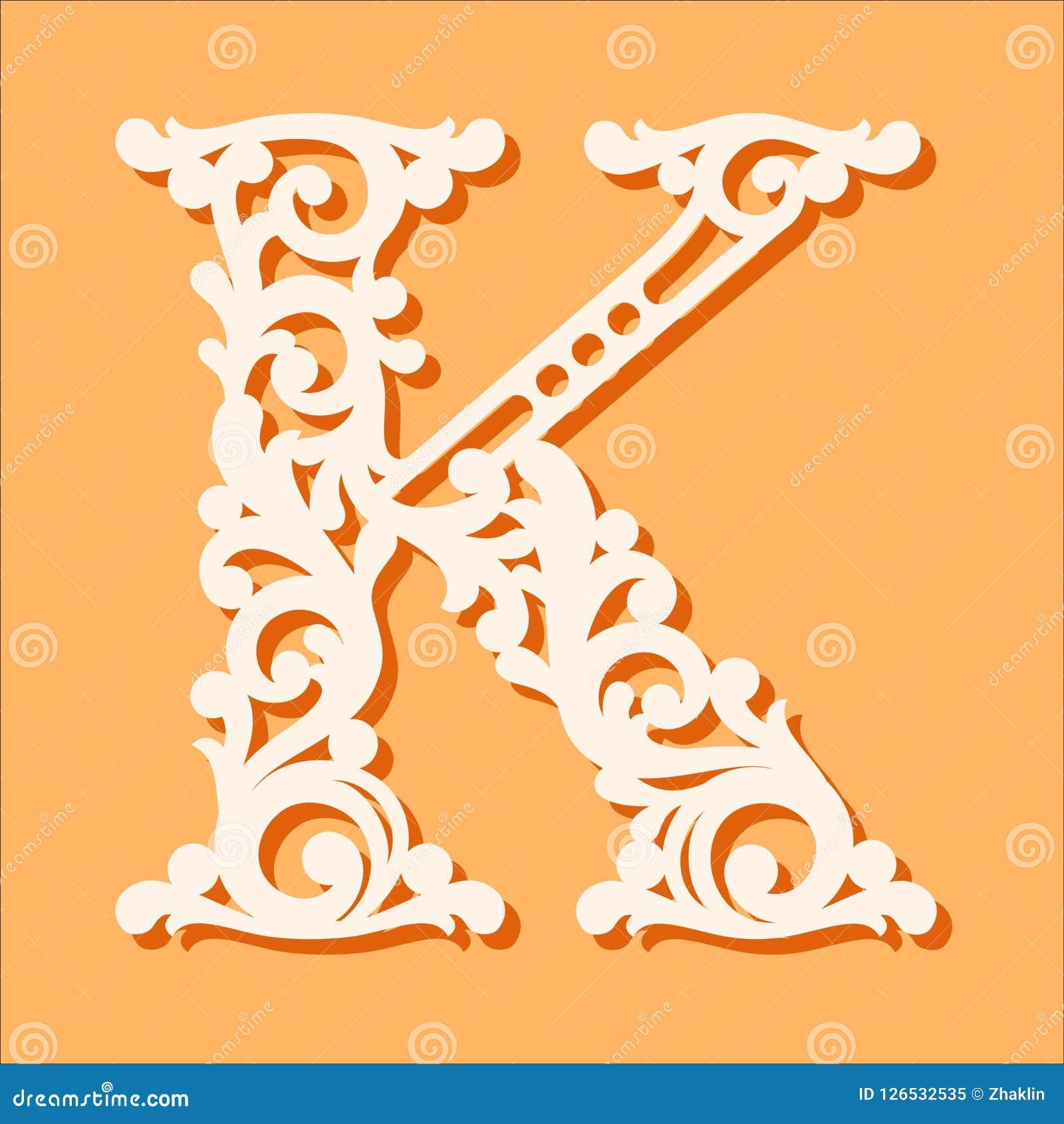 Laser-snittmall Initiala monogrambokstäver Utsmyckad blom- alfabetbokstav