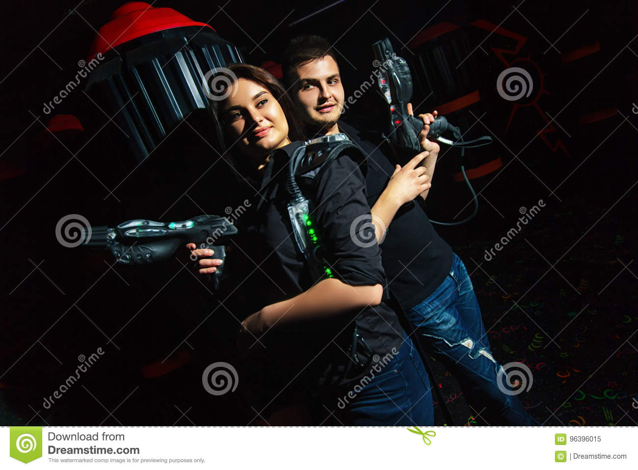 Laser tag girl and guy