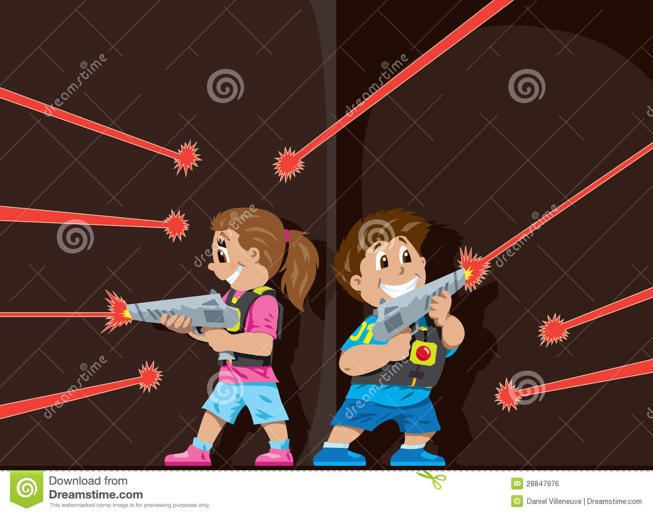 Laser Tag kids stock vector. Image of players, shooting ...